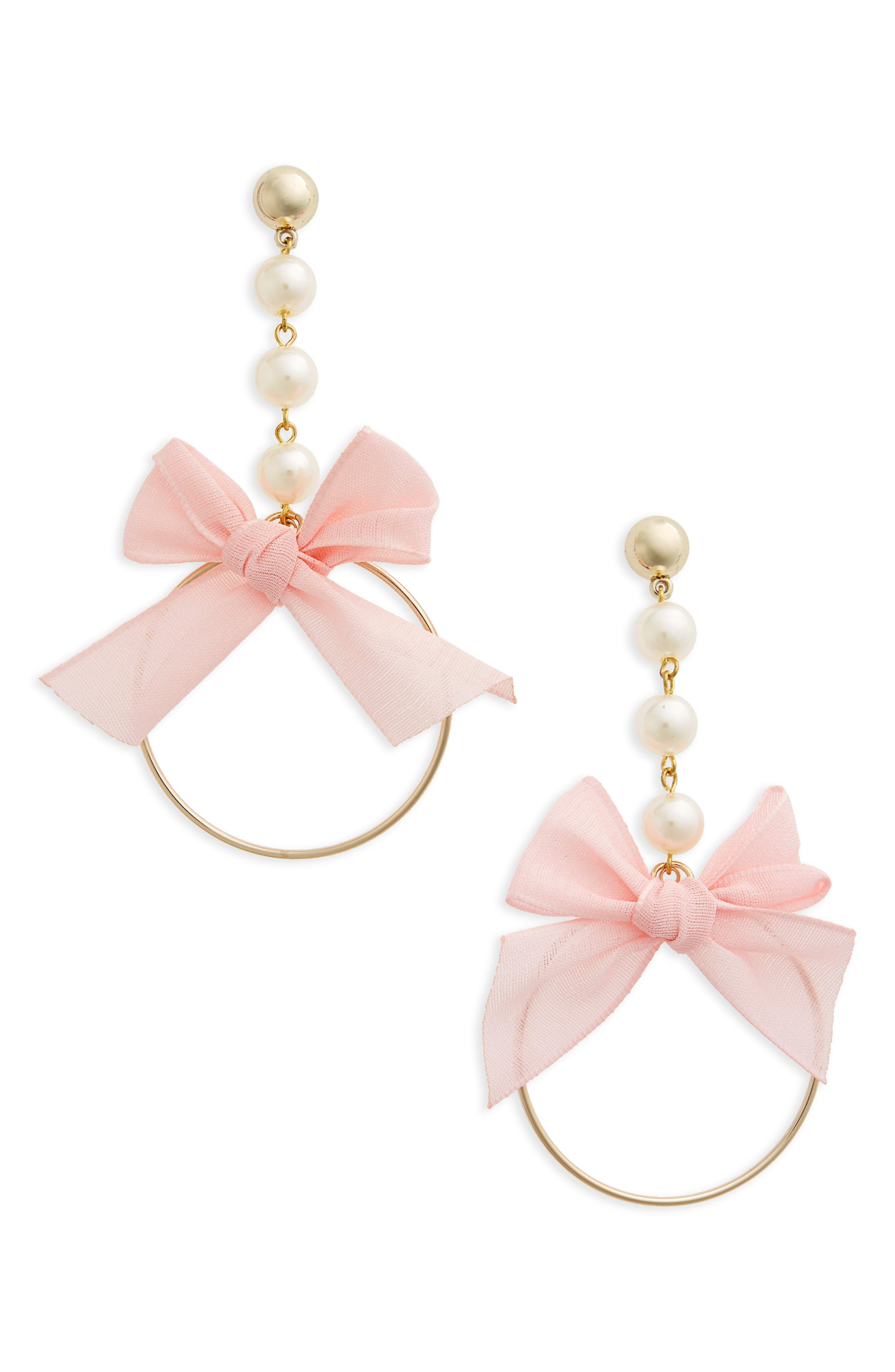 Bow Drop Earrings,                         Main,                         color, Gold