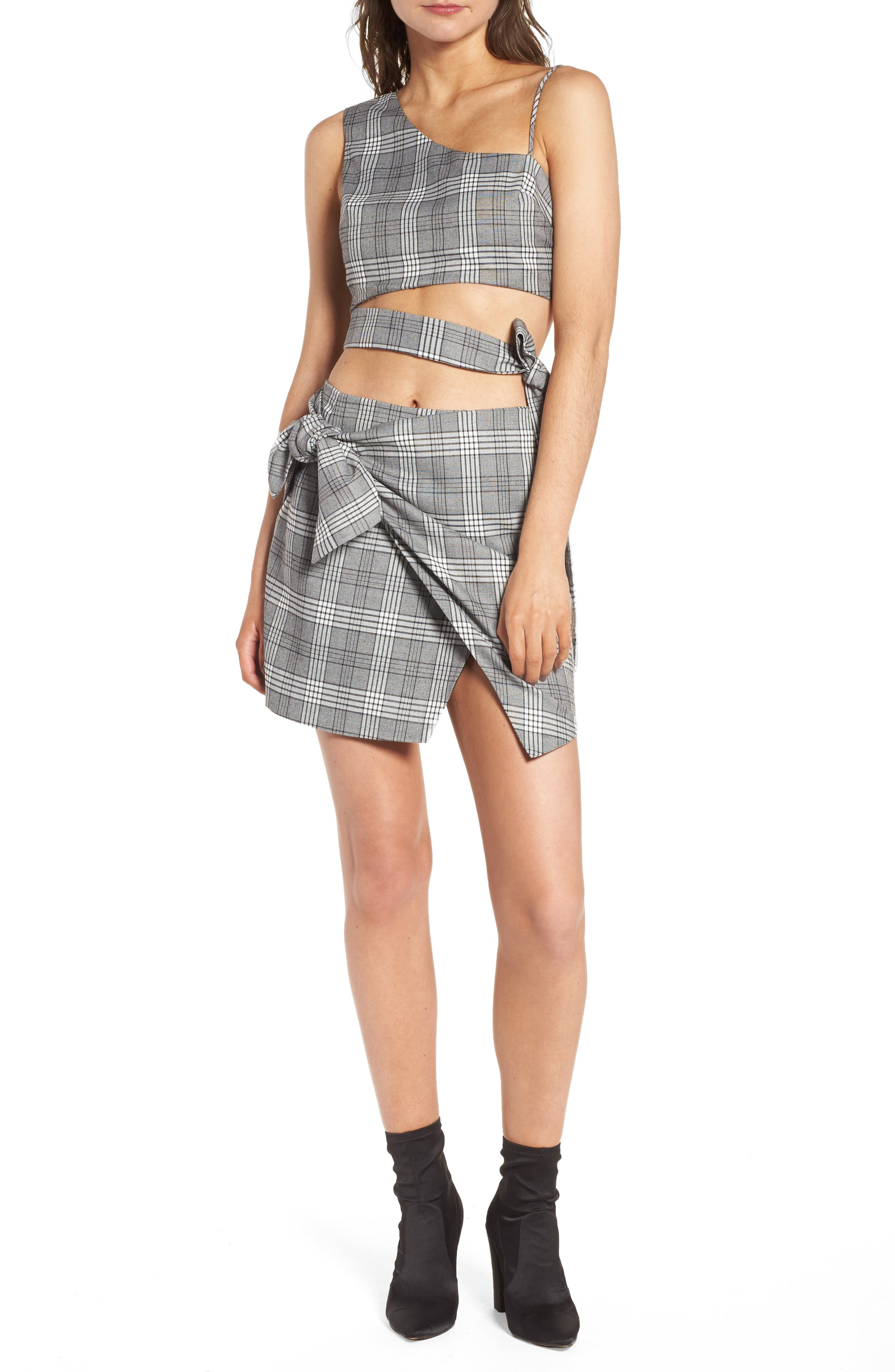 Alternate Image 2  - Lovers + Friends Julie Faux Wrap Plaid Skirt