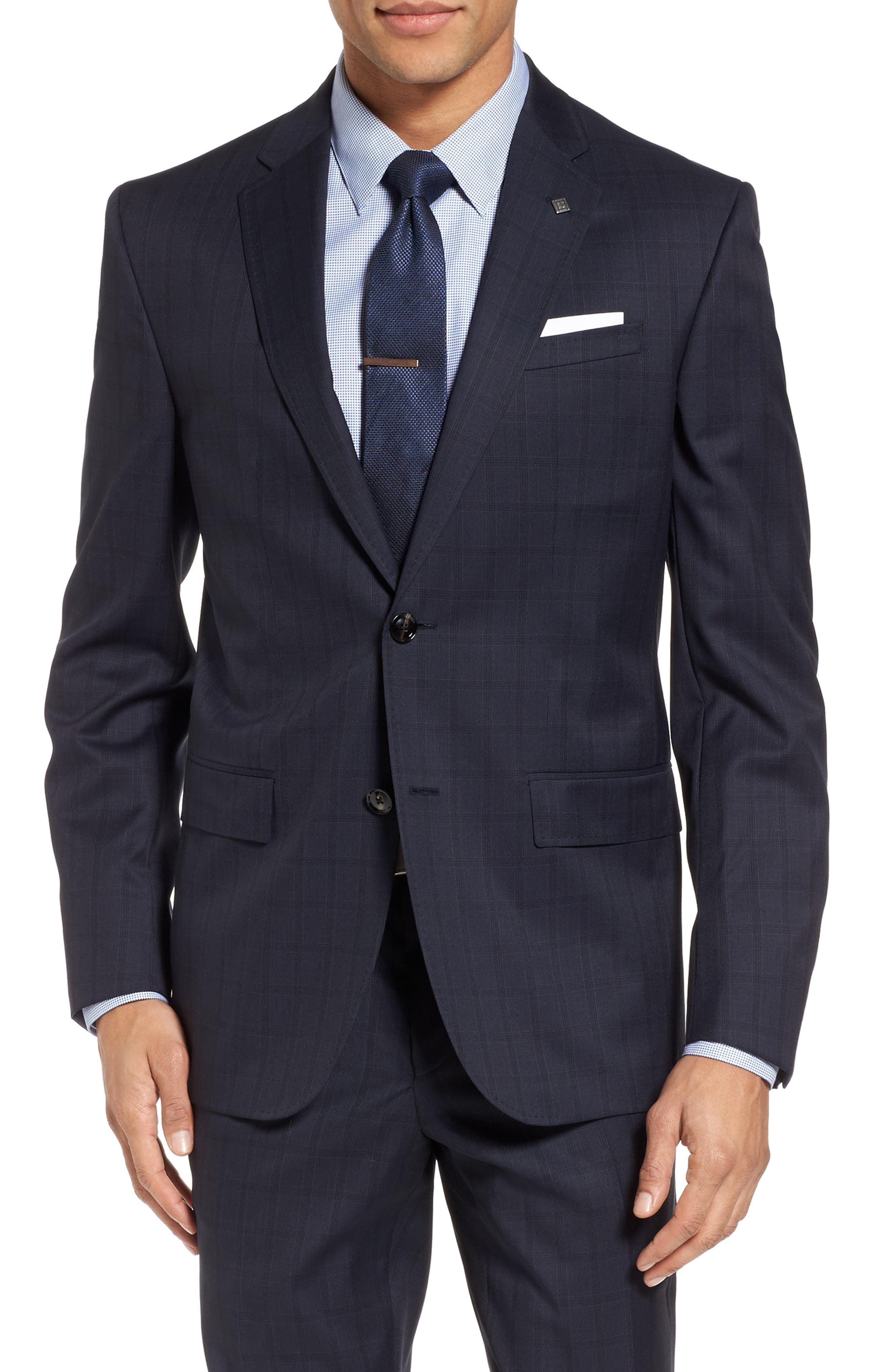 Jay Trim Fit Check Wool Suit,                             Alternate thumbnail 5, color,                             Navy