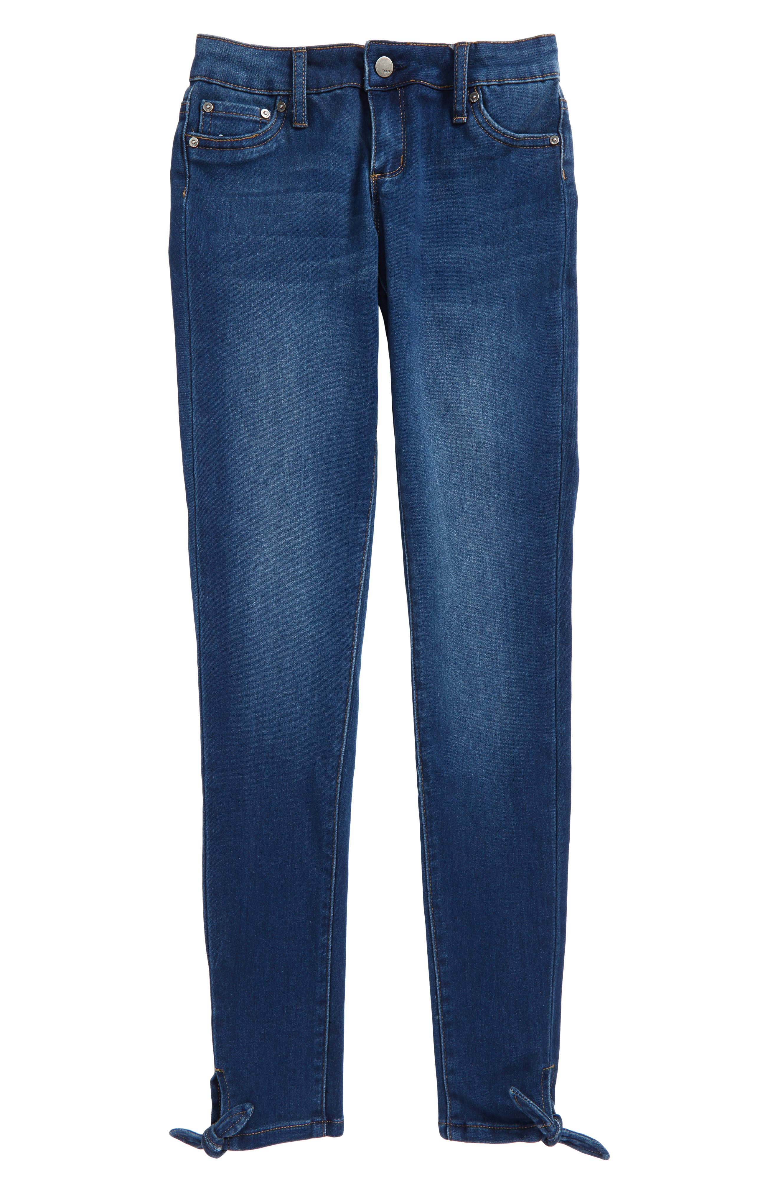 Main Image - Tractr Ankle Tie Skinny Jeans (Big Girls)