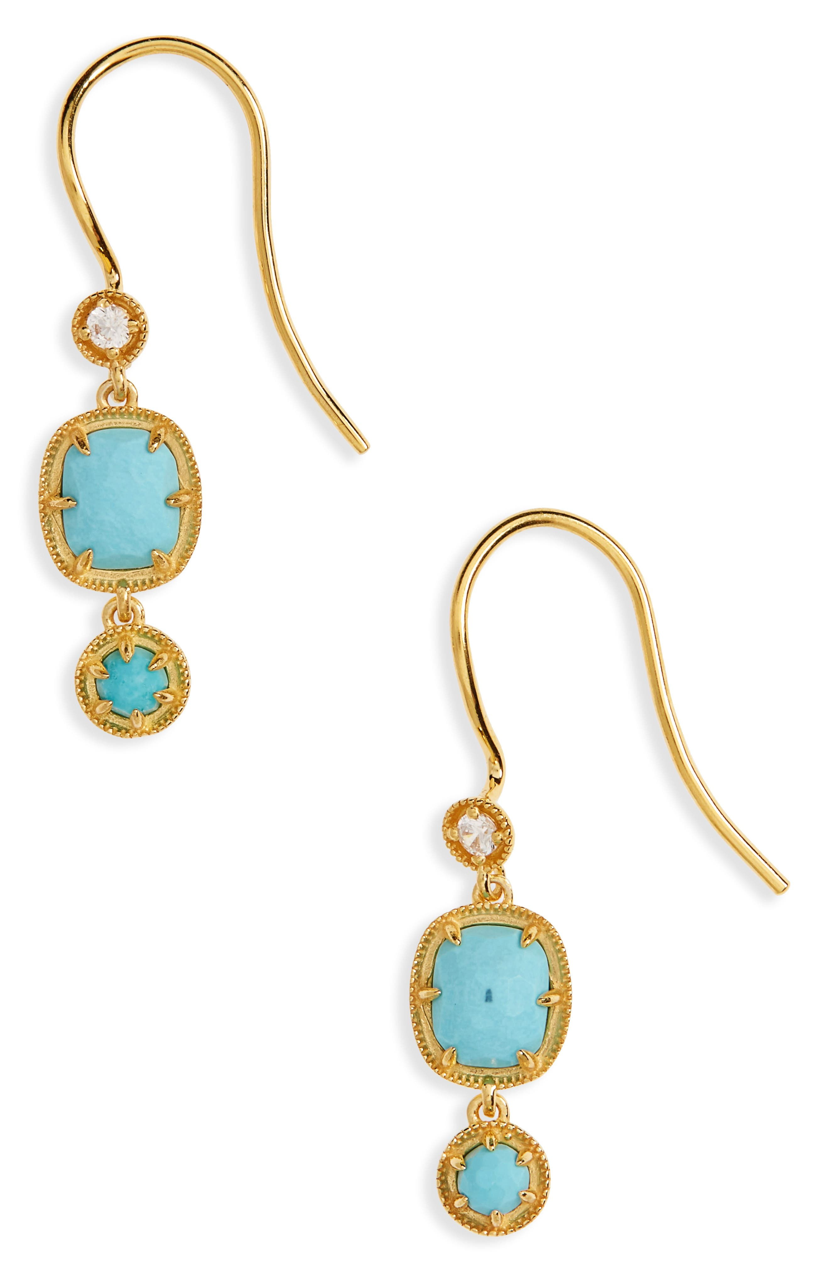 Cleo Semiprecious Drop Earrings,                         Main,                         color, Turquoise/ Gold