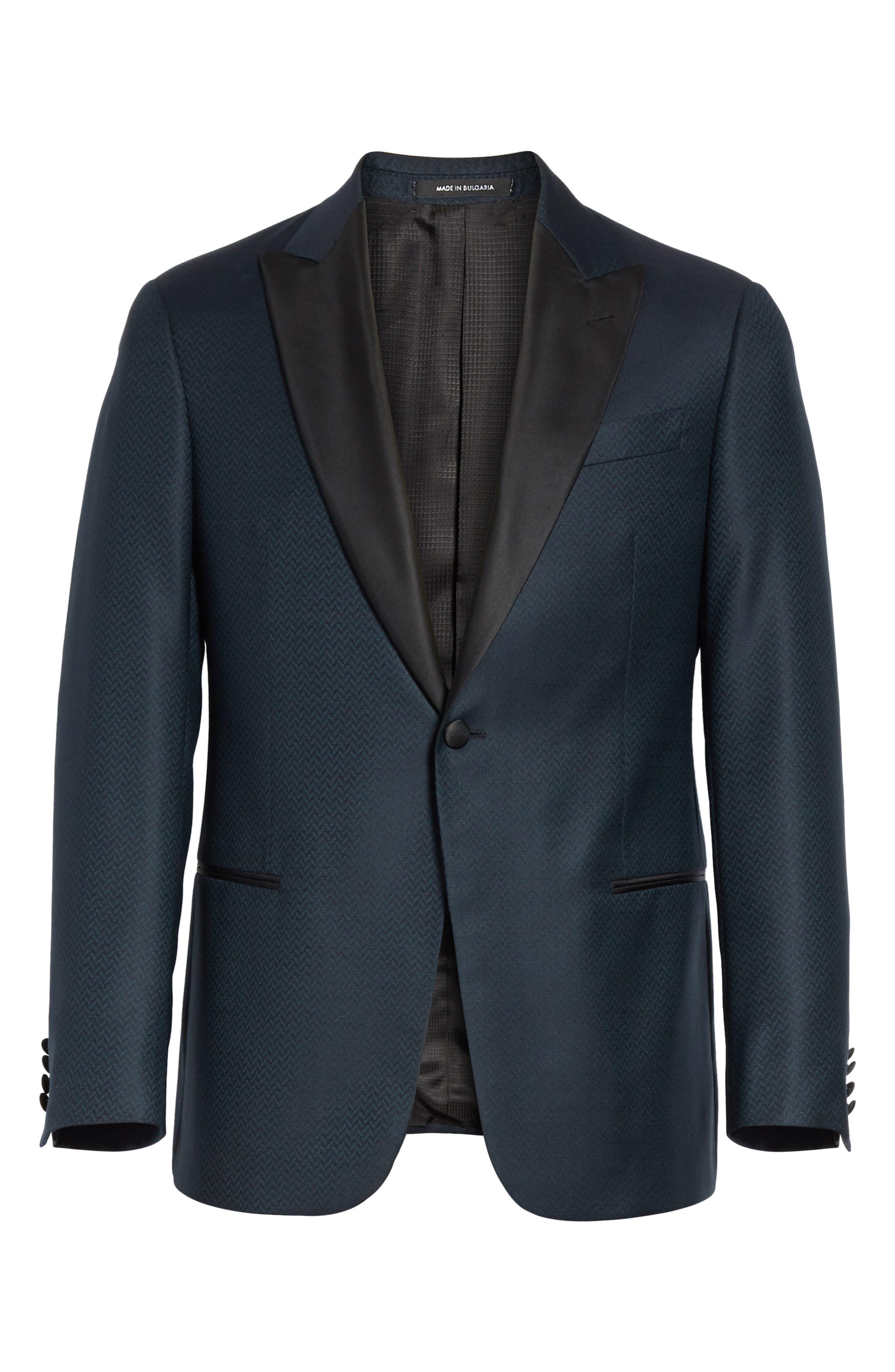 G-Line Trim Fit Wool Dinner Jacket,                             Alternate thumbnail 6, color,                             Blue
