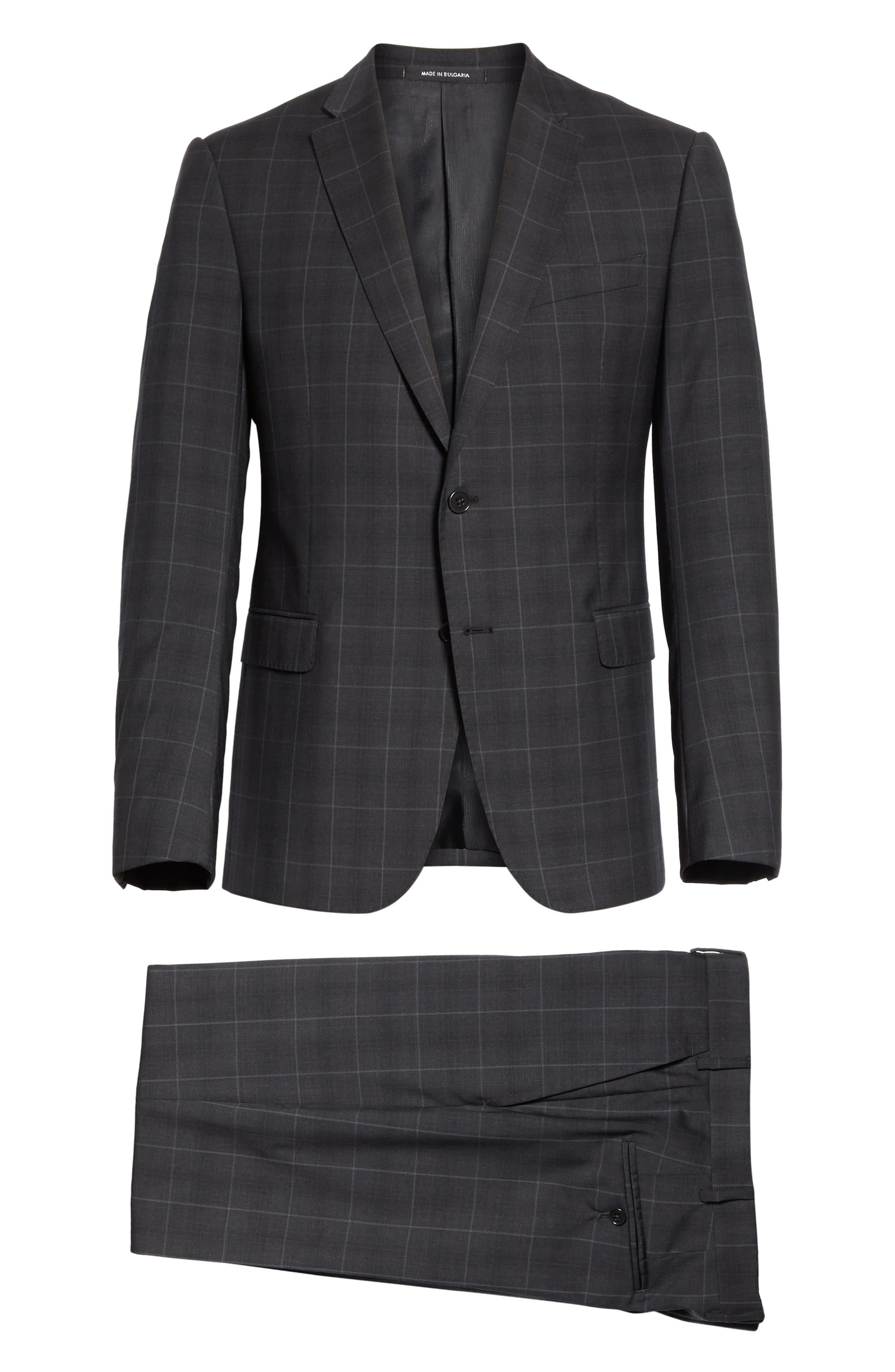 M-Line Trim Fit Plaid Wool Suit,                             Alternate thumbnail 7, color,                             Grey
