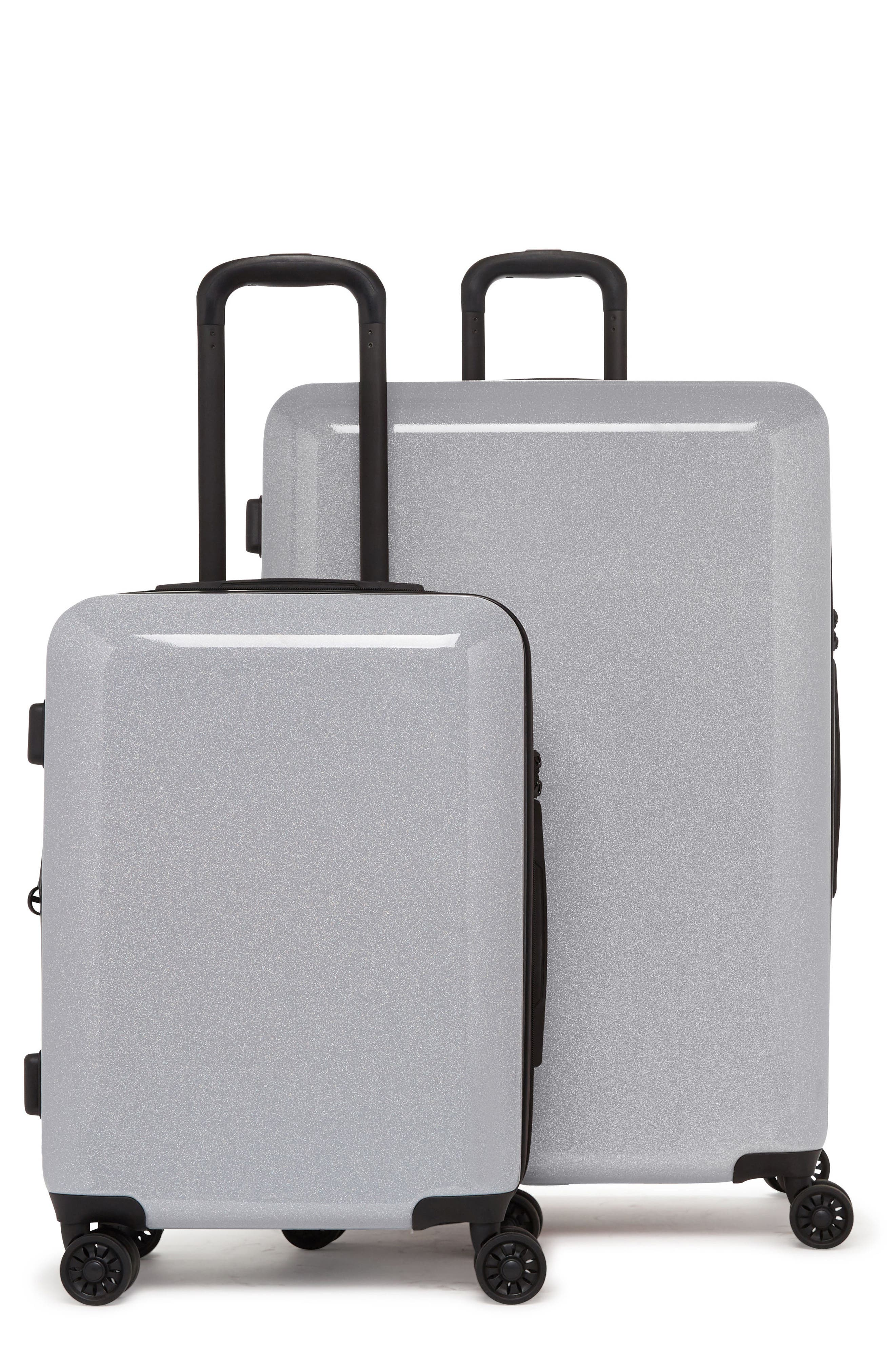 Medora Glitter 28-Inch & 20-Inch Hardshell Spinner Suitcase & Carry-On Set,                             Main thumbnail 1, color,                             Silver Stardust