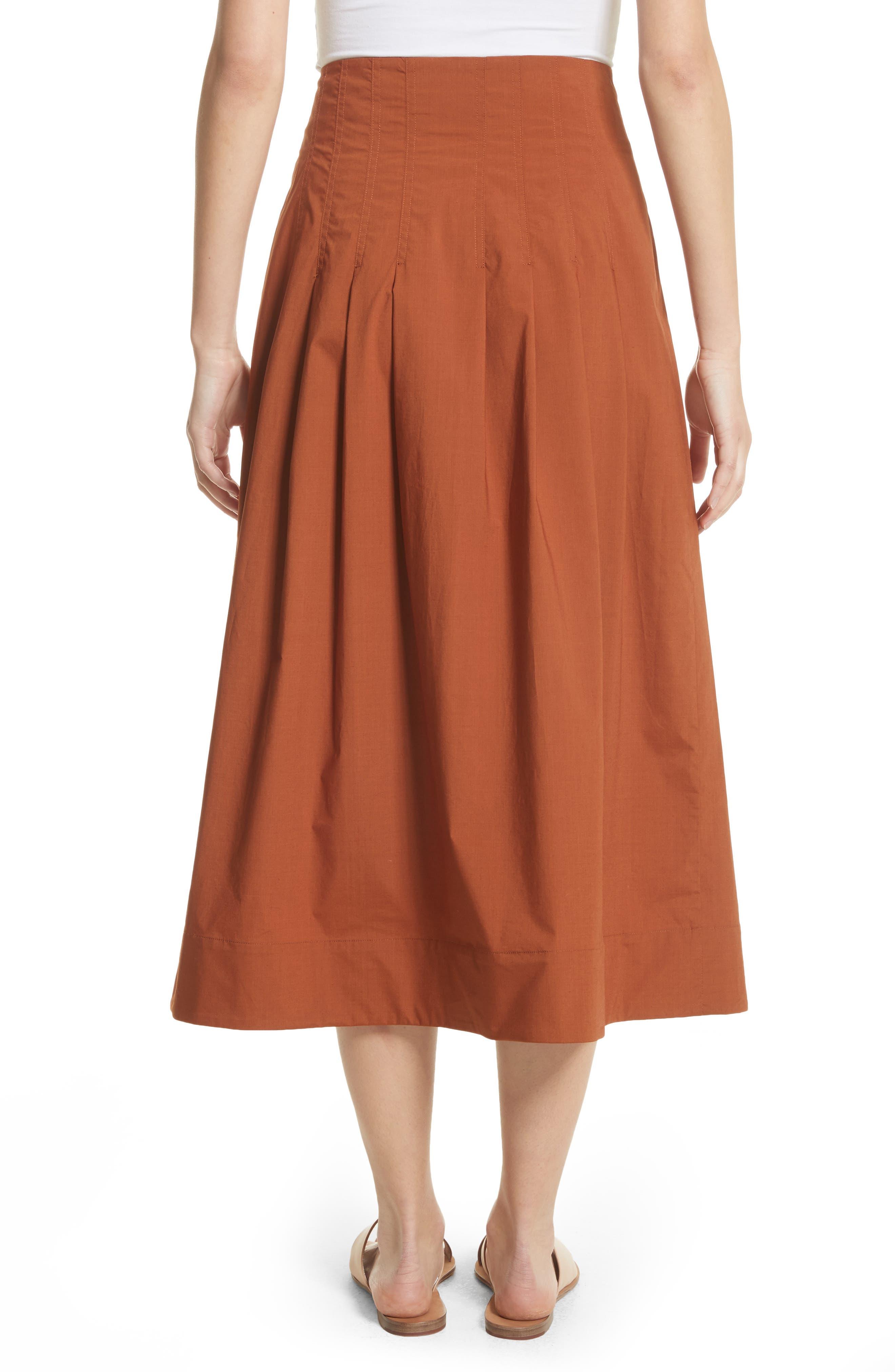 Azalia Button Front Poplin Midi Skirt,                             Alternate thumbnail 2, color,                             Walnut