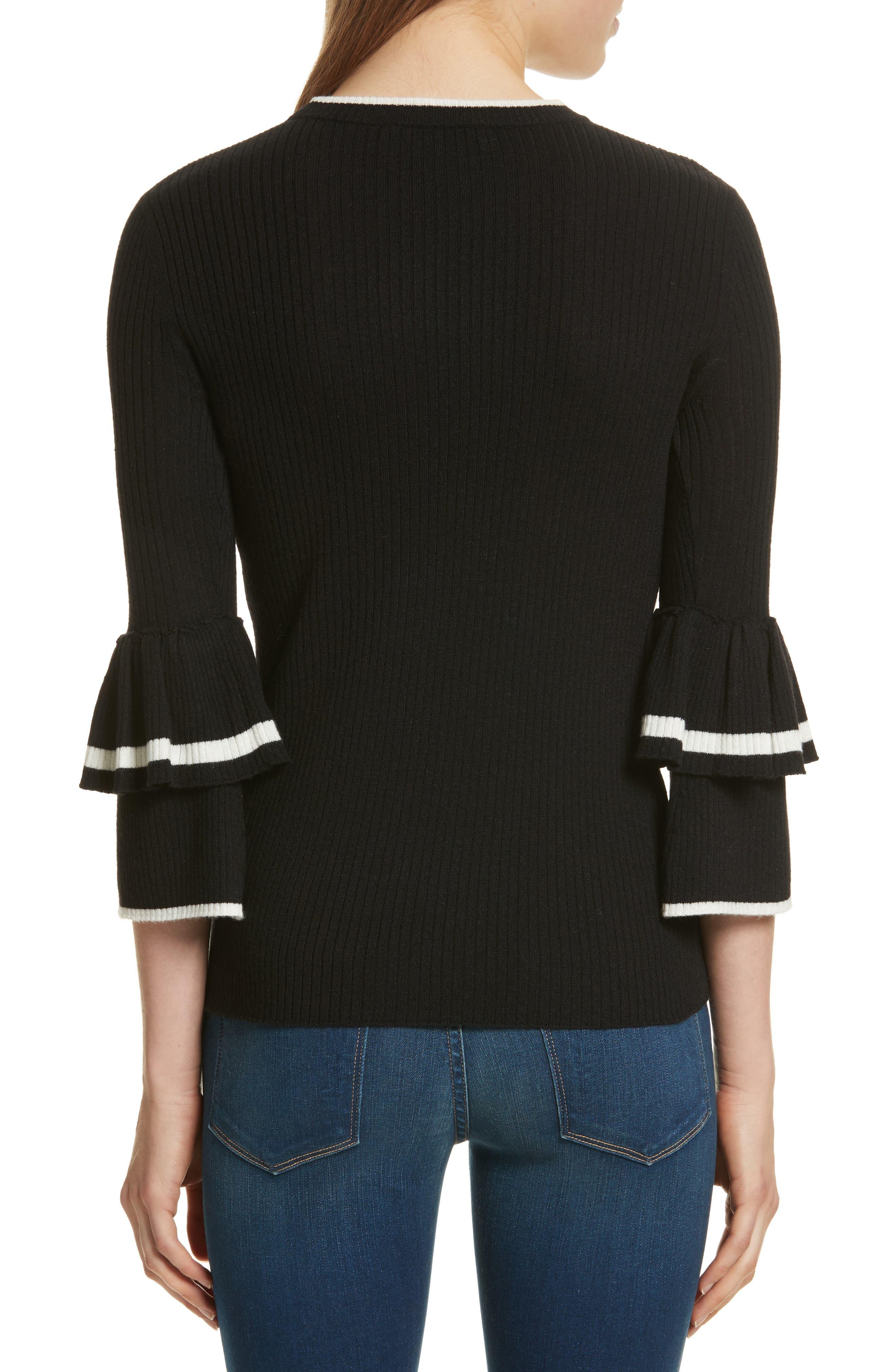 Double Ruffle Cuff Sweater,                             Alternate thumbnail 2, color,                             Noir Multi