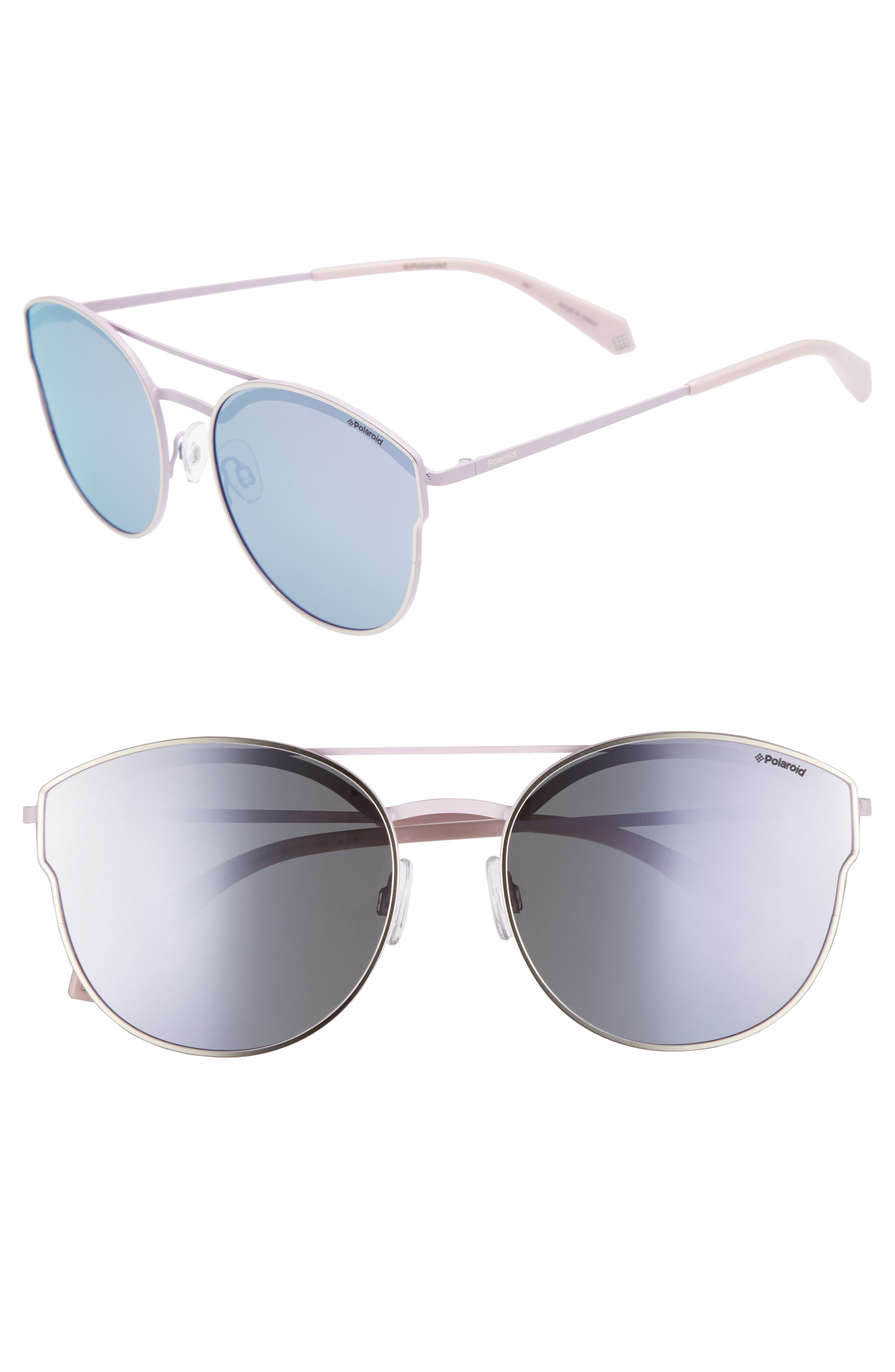 60mm Polarized Round Aviator Sunglasses,                             Main thumbnail 1, color,                             Light Gold