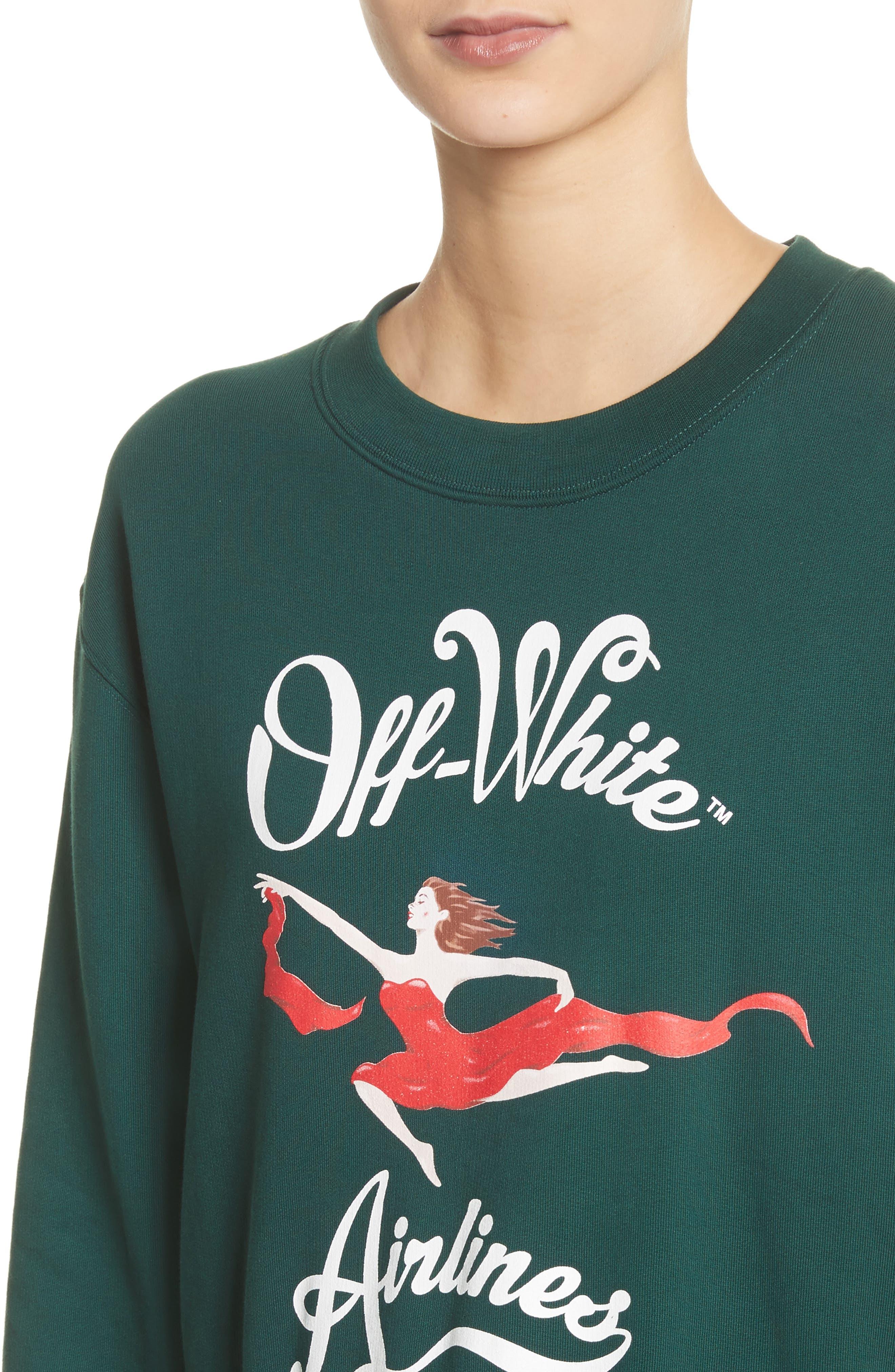 Airlines Crop Crewneck Sweatshirt,                             Alternate thumbnail 4, color,                             Dark Green