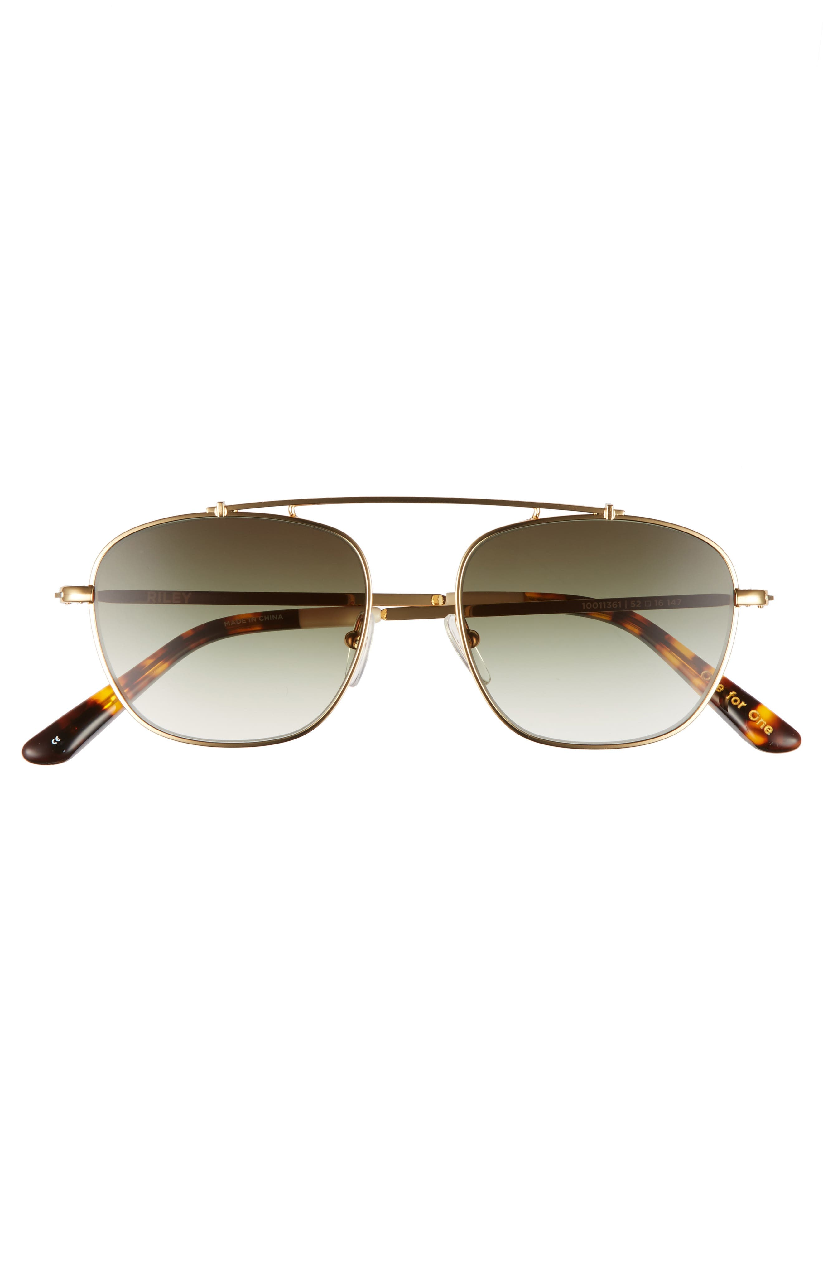 Riley 52mm Sunglasses,                             Alternate thumbnail 2, color,                             Shiny Gold
