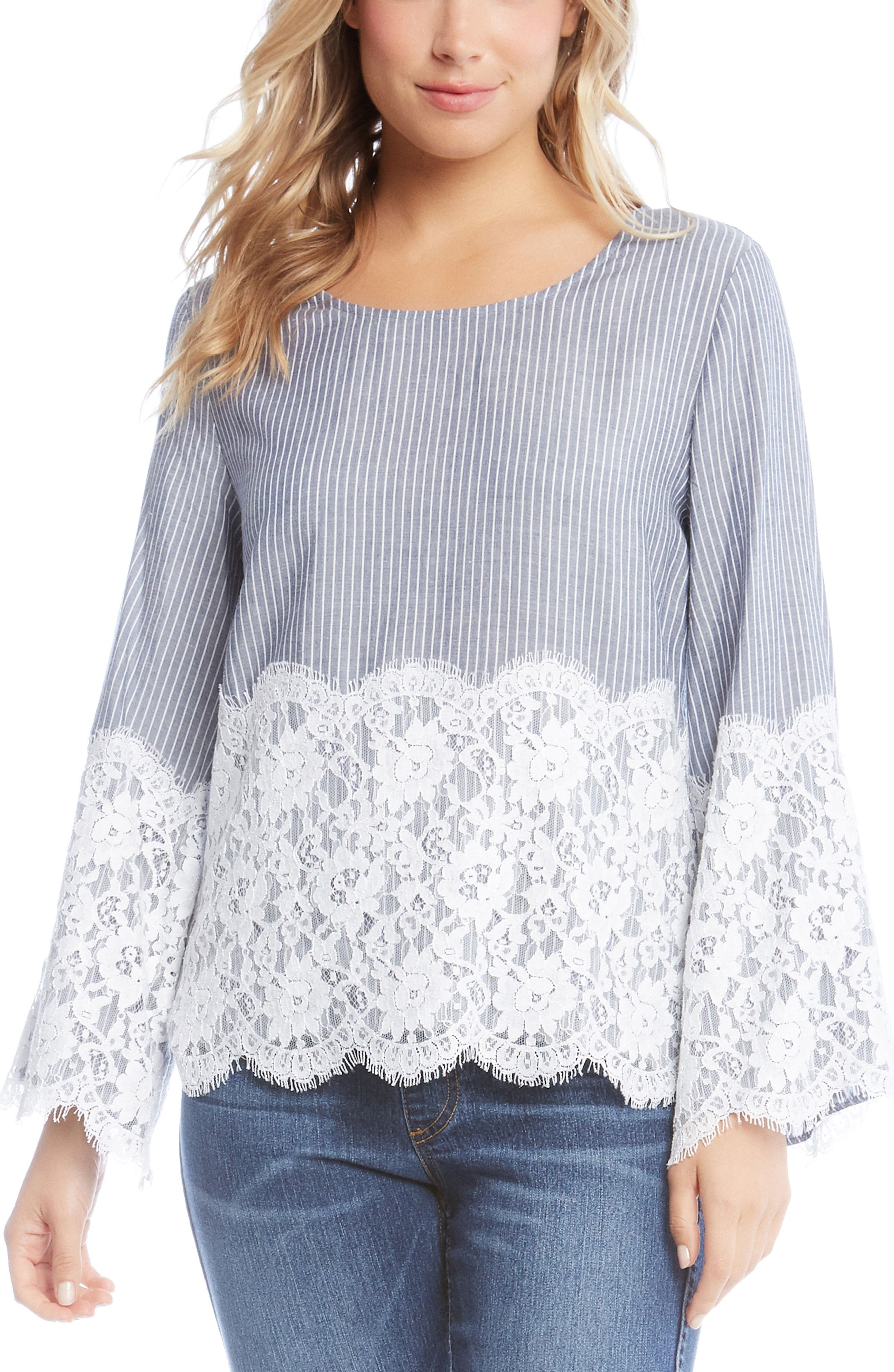 Chambray Stripe Lace Top,                             Main thumbnail 1, color,                             Striped