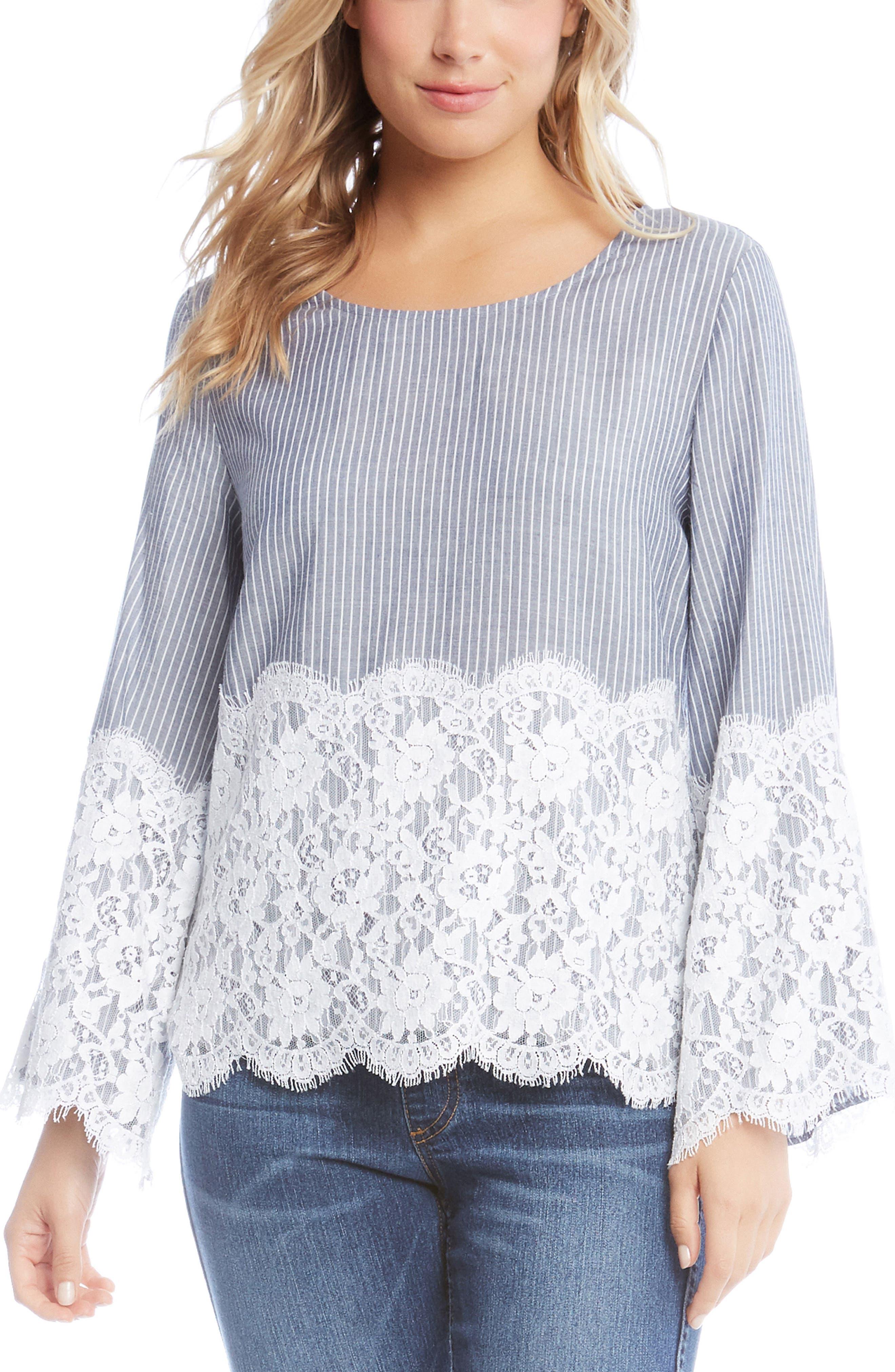Chambray Stripe Lace Top,                         Main,                         color, Striped