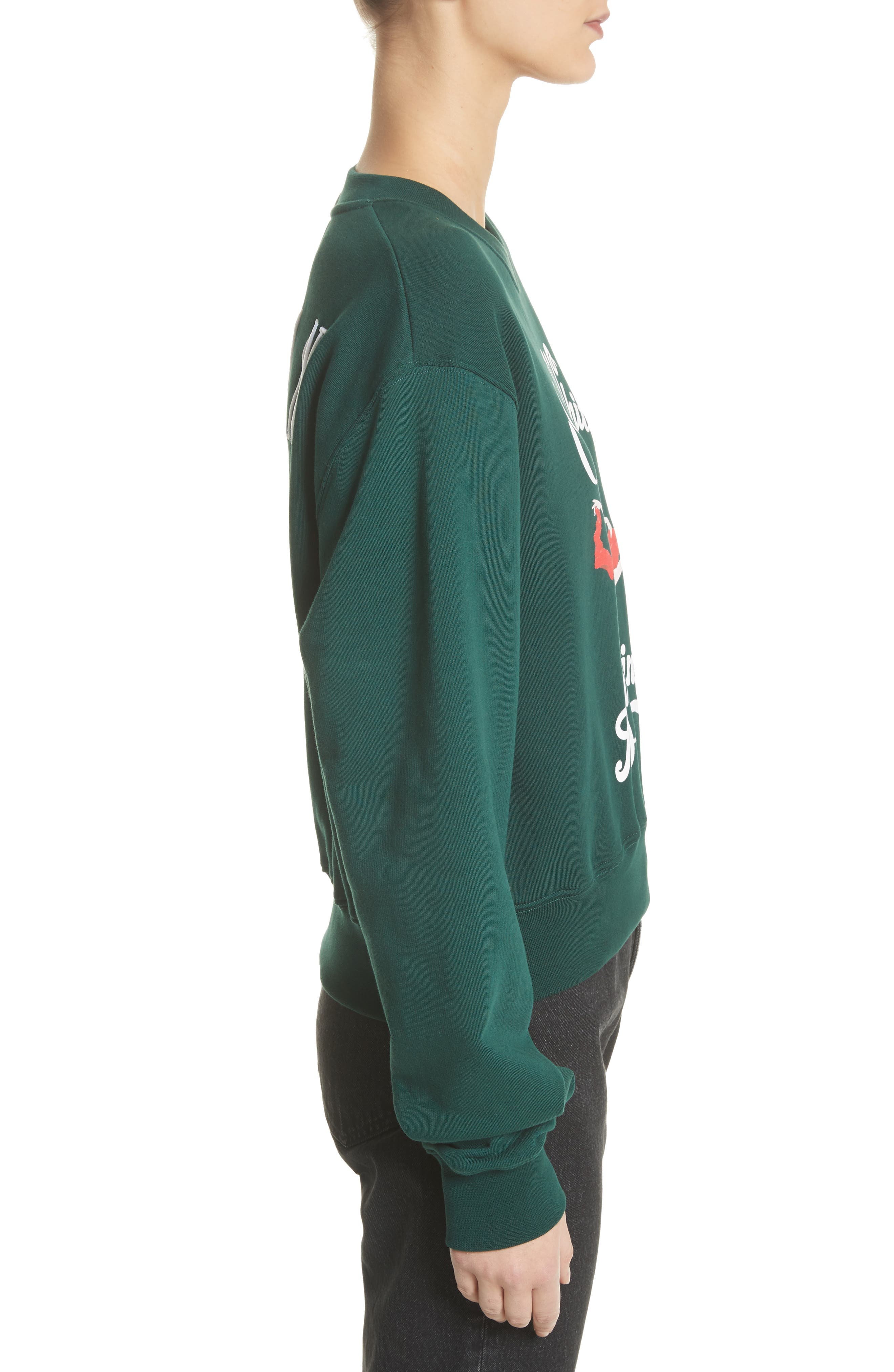 Airlines Crop Crewneck Sweatshirt,                             Alternate thumbnail 3, color,                             Dark Green