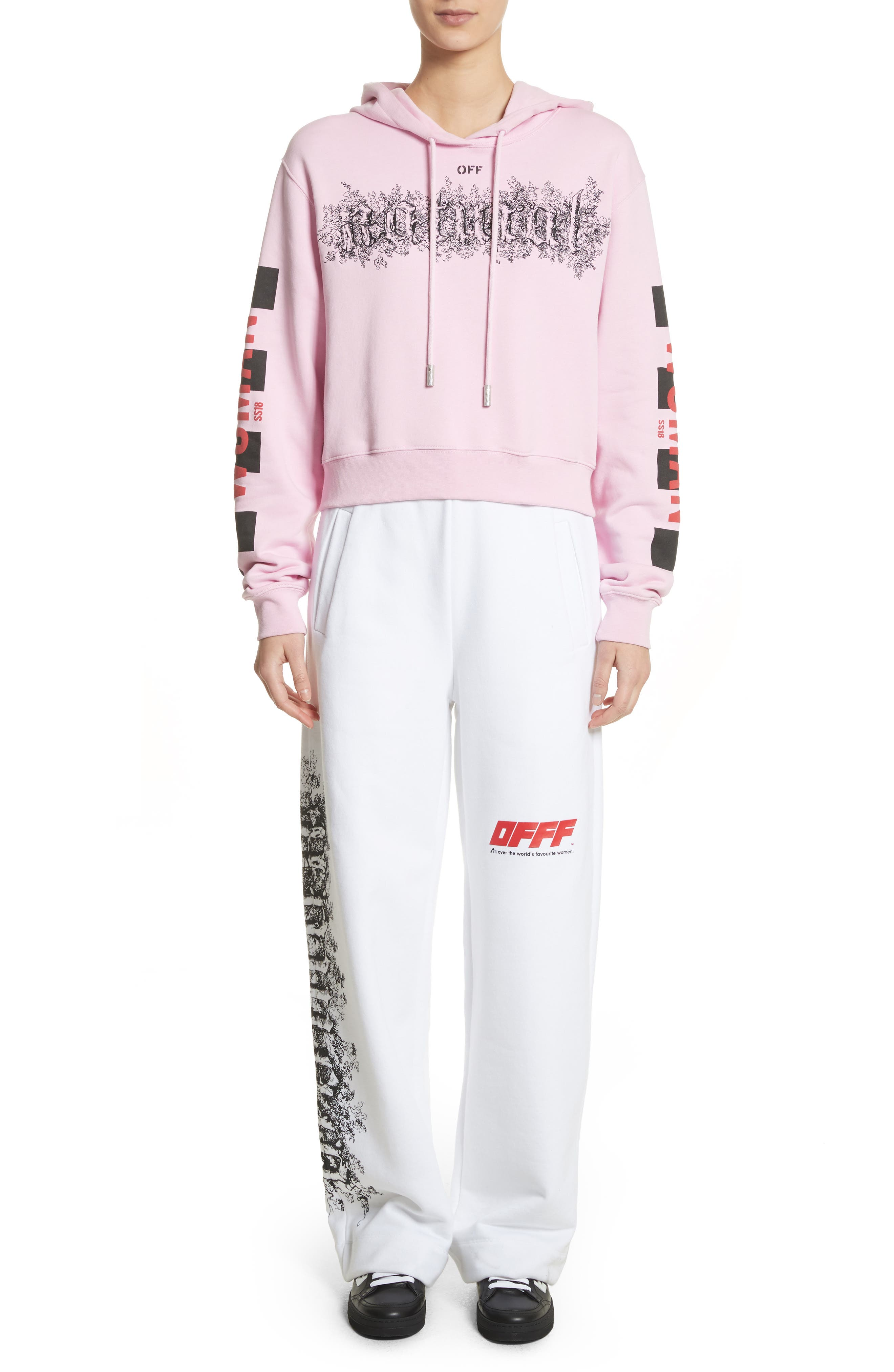 OFFF Sweatpants,                             Alternate thumbnail 8, color,                             White Red