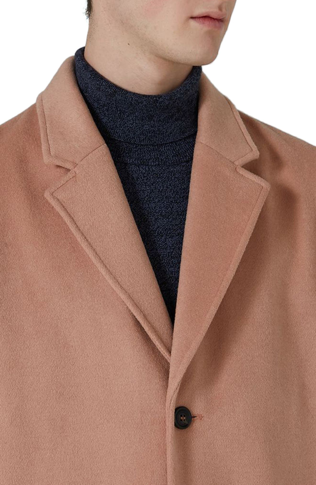 Oversized Single Breasted Coat,                             Alternate thumbnail 3, color,                             Pink
