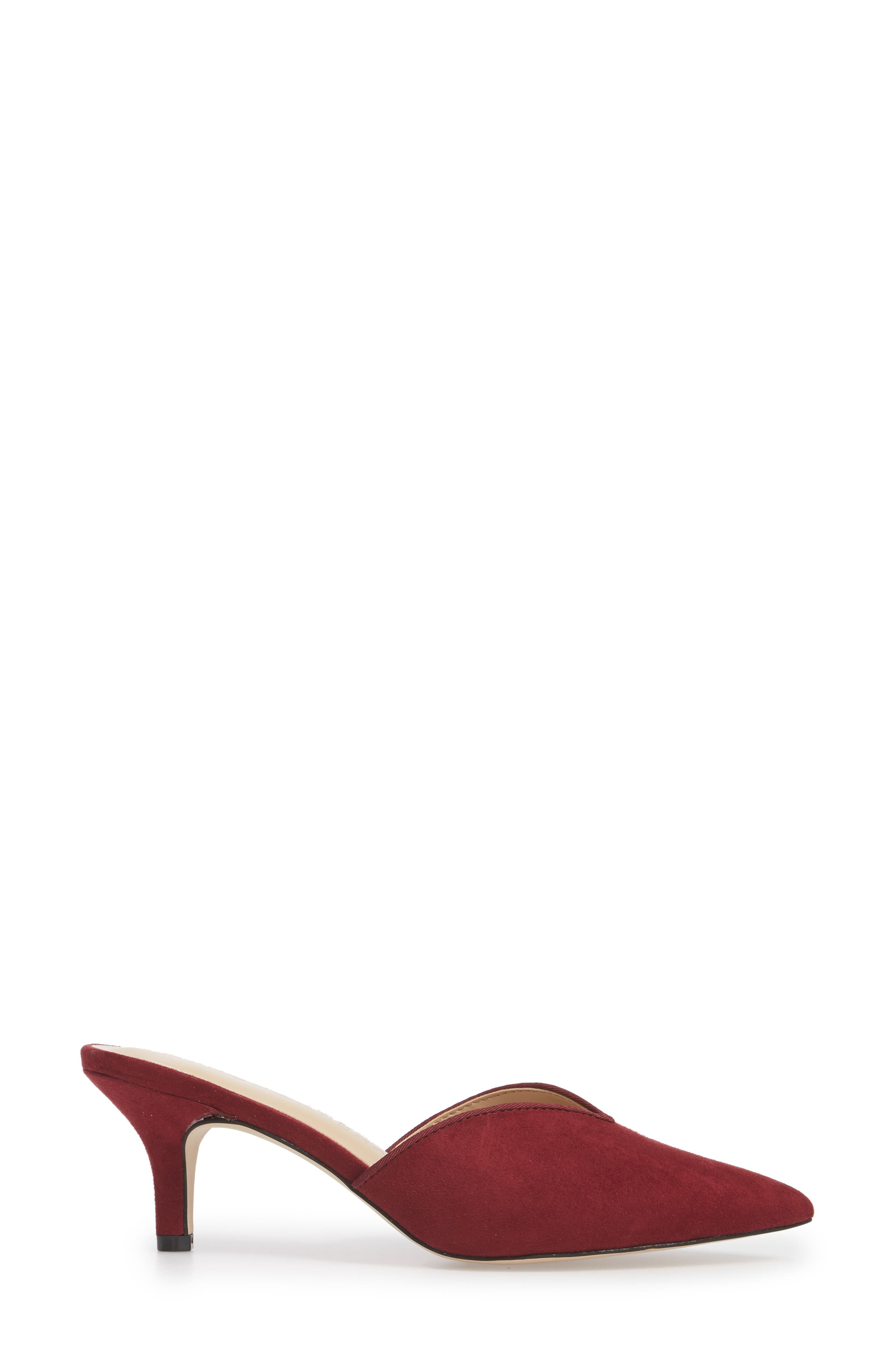 Jasper Pointy Toe Mule,                             Alternate thumbnail 3, color,                             Wine Suede