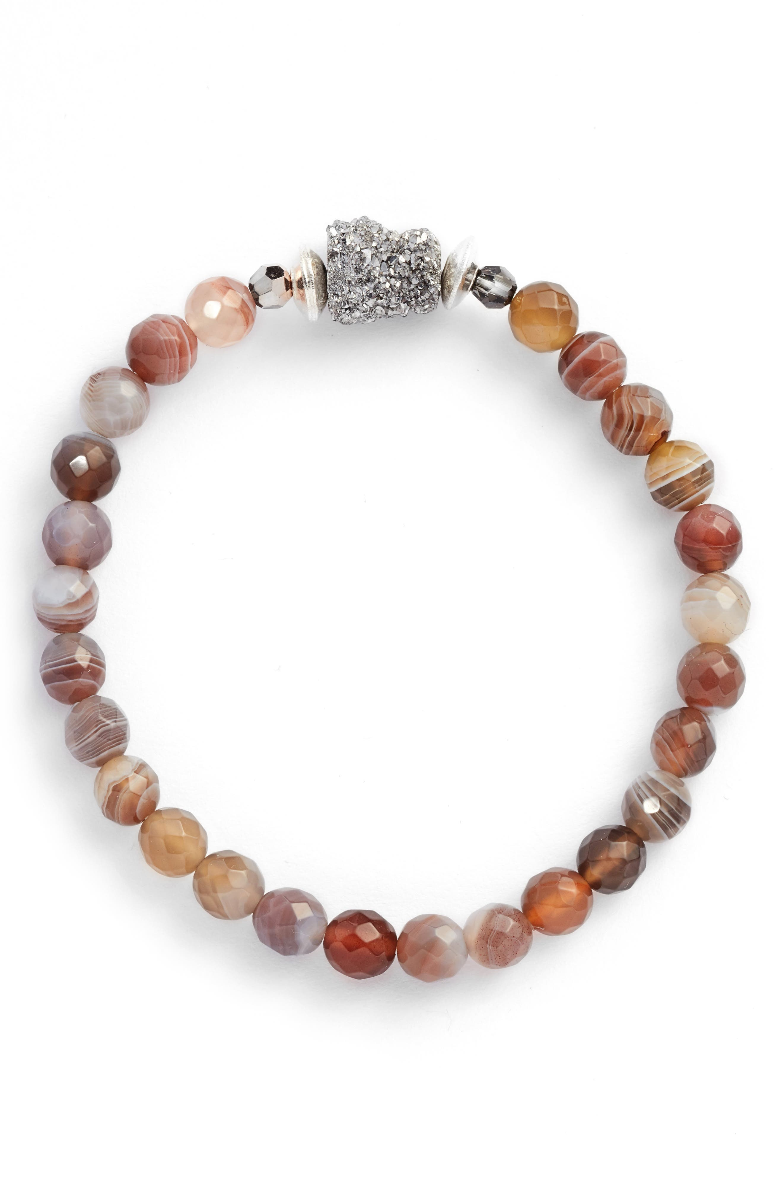 Agate Stretch Bracelet,                             Main thumbnail 1, color,                             Botswana Agate Mix