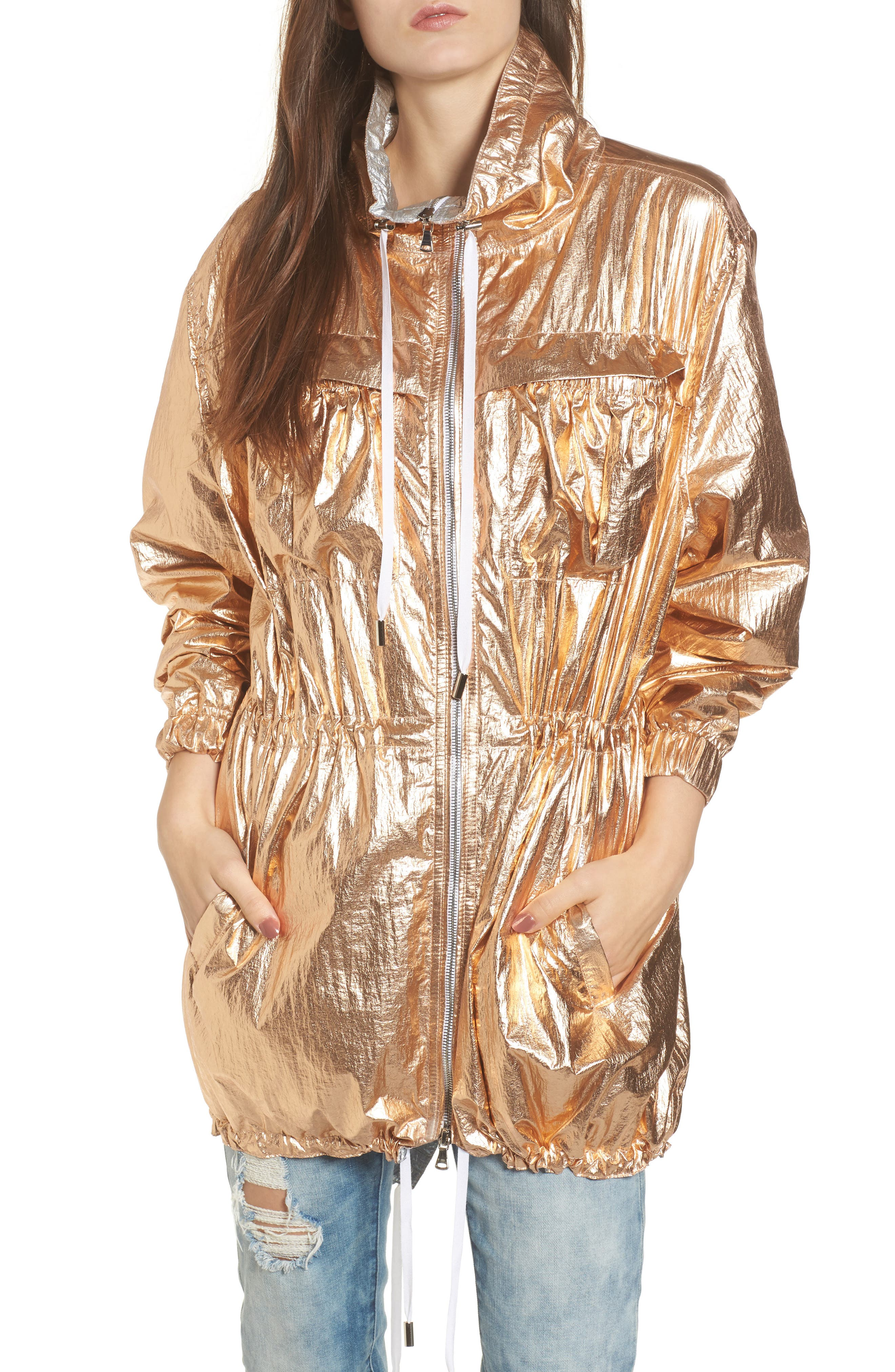 Reversible Metallic Long Jacket,                         Main,                         color, Shine On Rose Gold