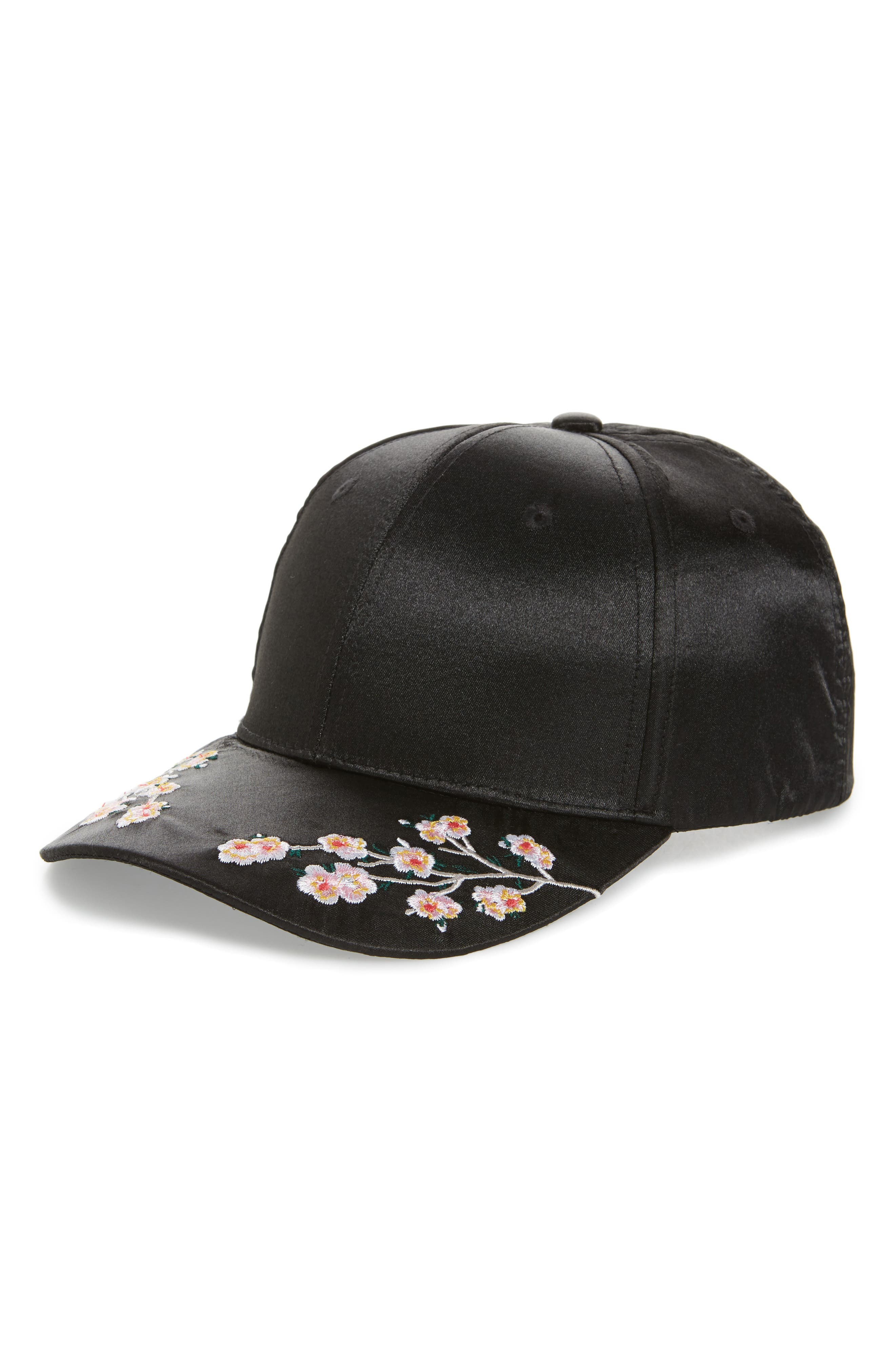 Embroidered Satin Adjustable Ball Cap,                             Main thumbnail 1, color,                             Black