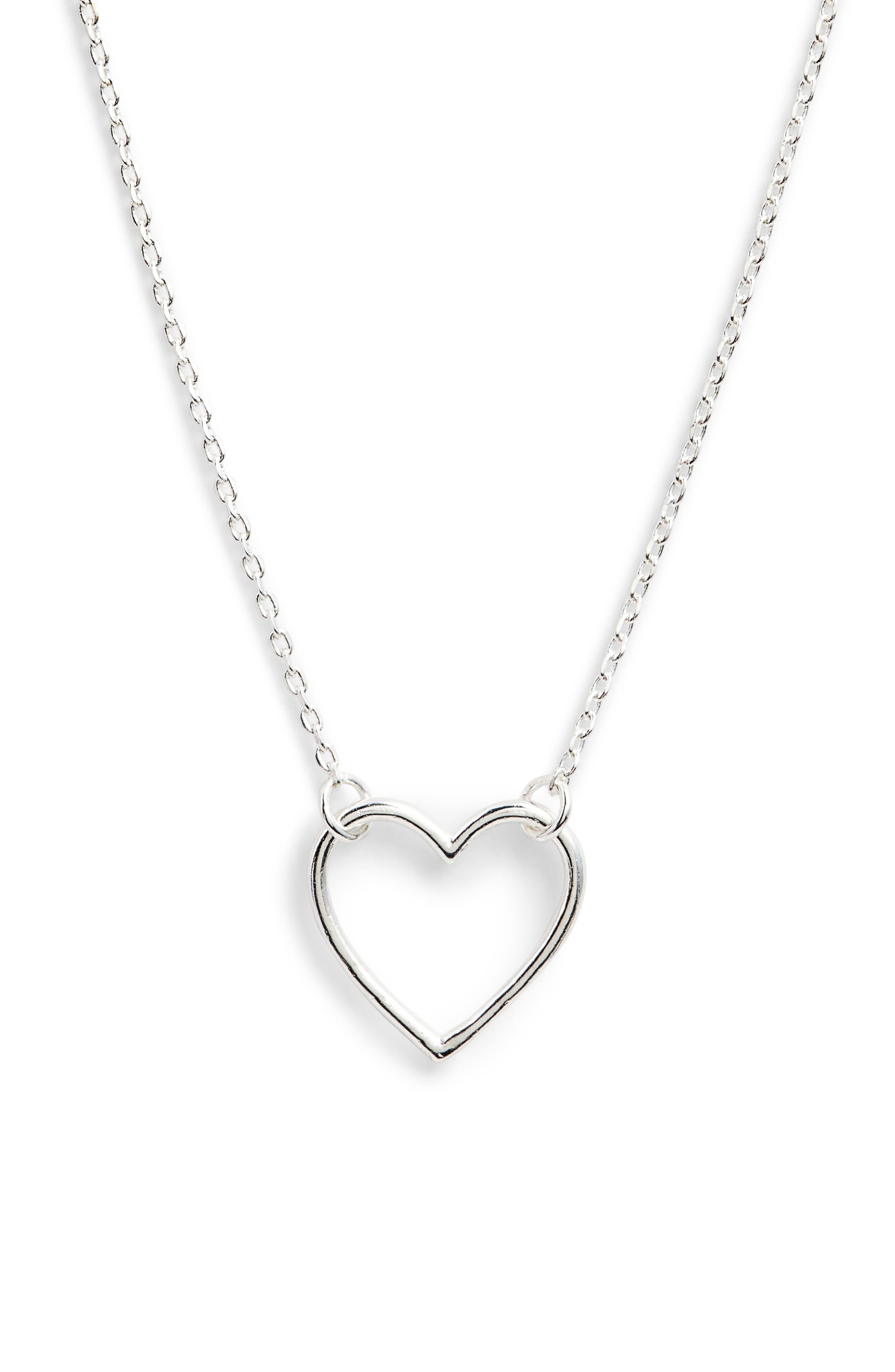 Open Heart Necklace,                             Alternate thumbnail 2, color,                             Silver