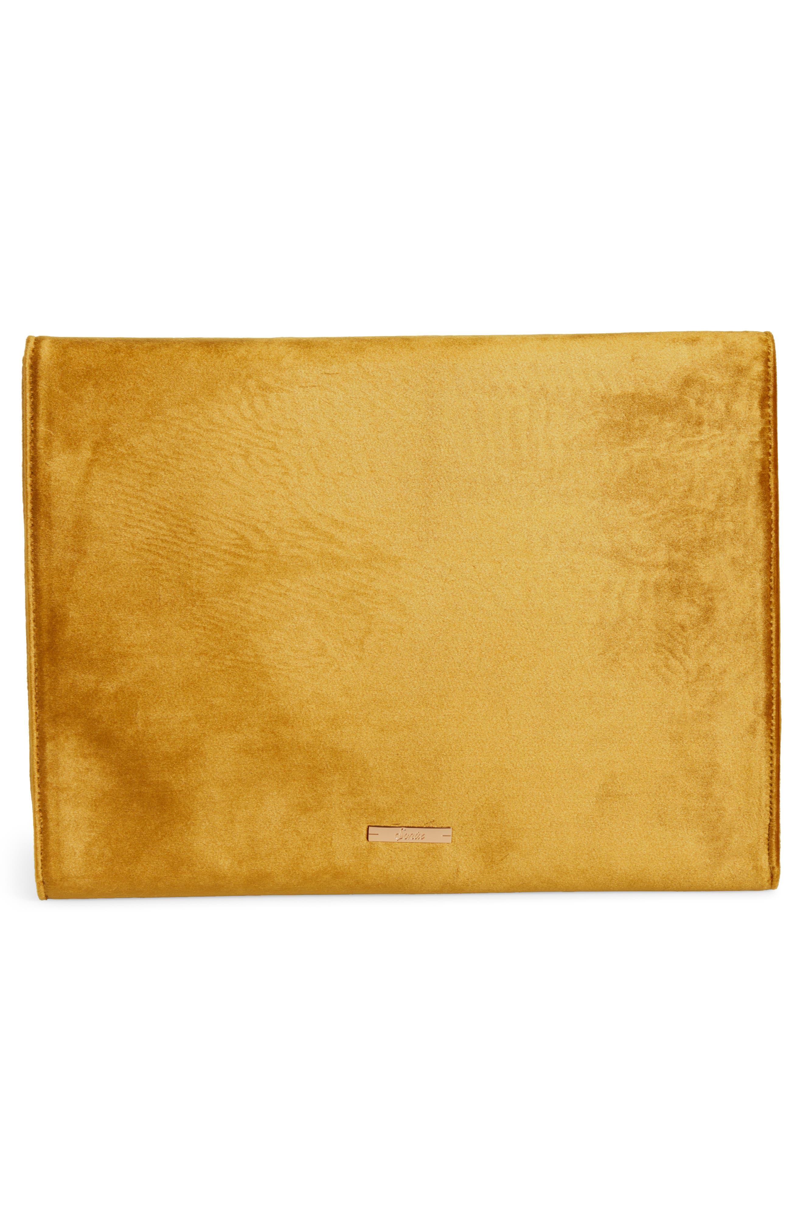 Canary Velvet Laptop Clutch,                             Alternate thumbnail 2, color,                             Gold