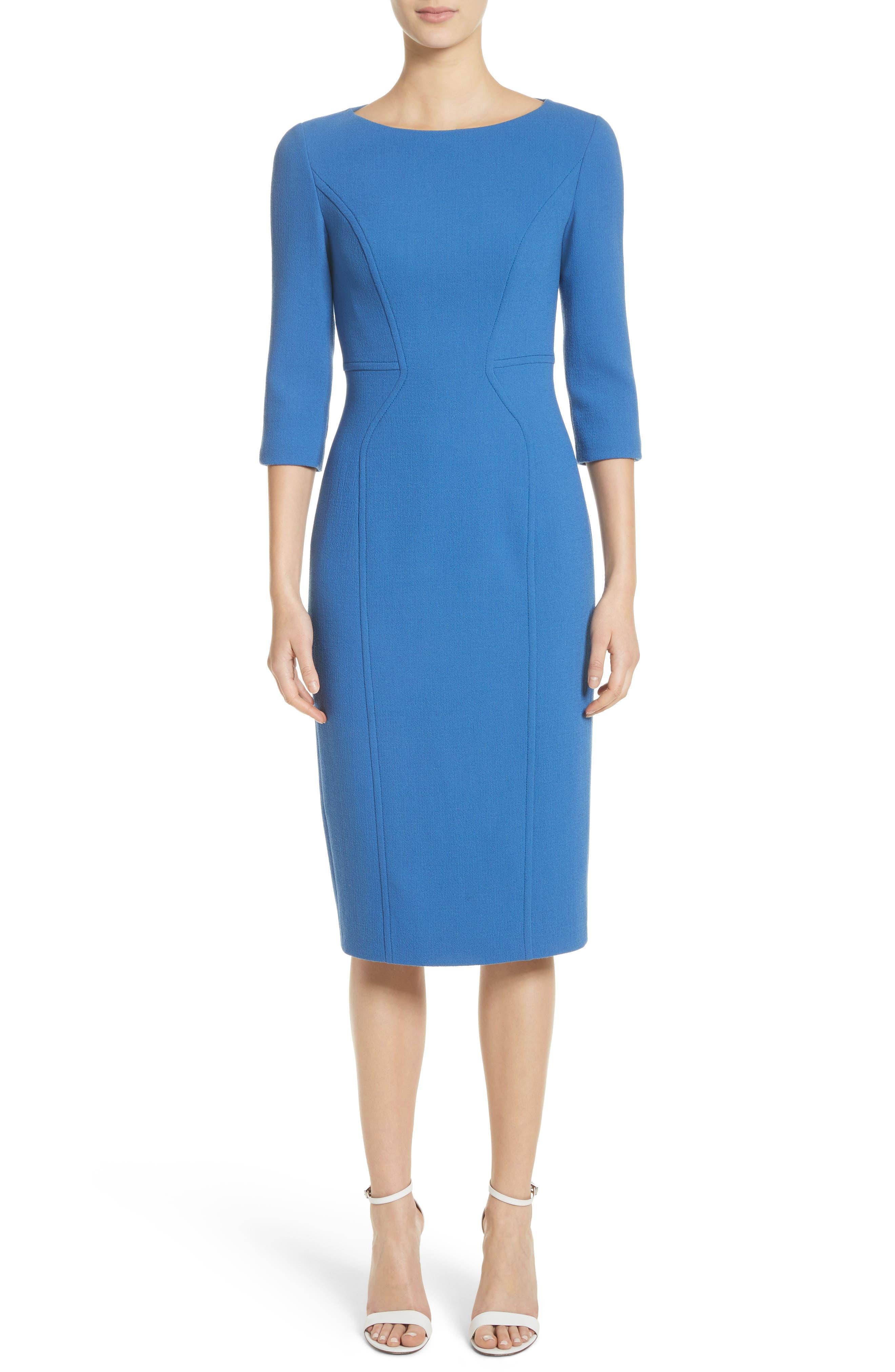 Stretch Wool Sheath Dress,                         Main,                         color, Ocean