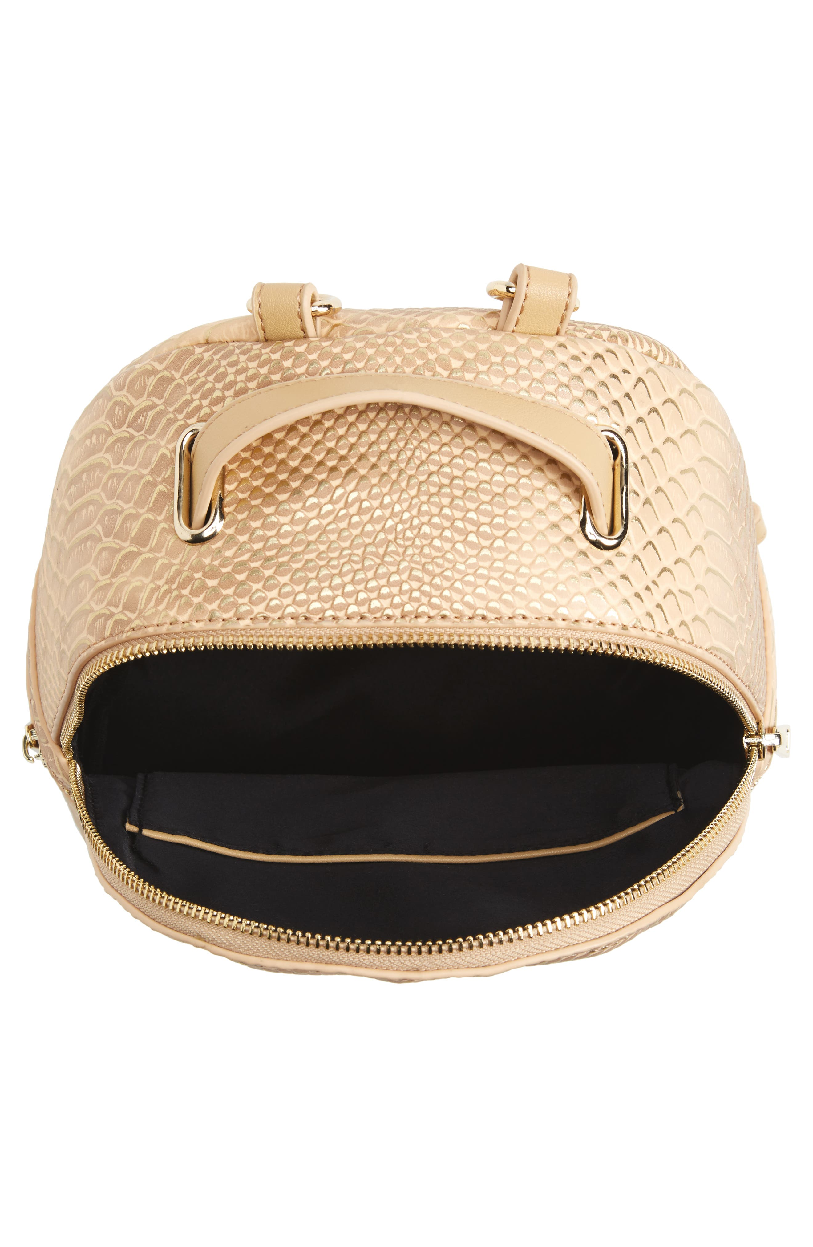 Colette Faux Leather Backpack,                             Alternate thumbnail 4, color,                             Nude Snake