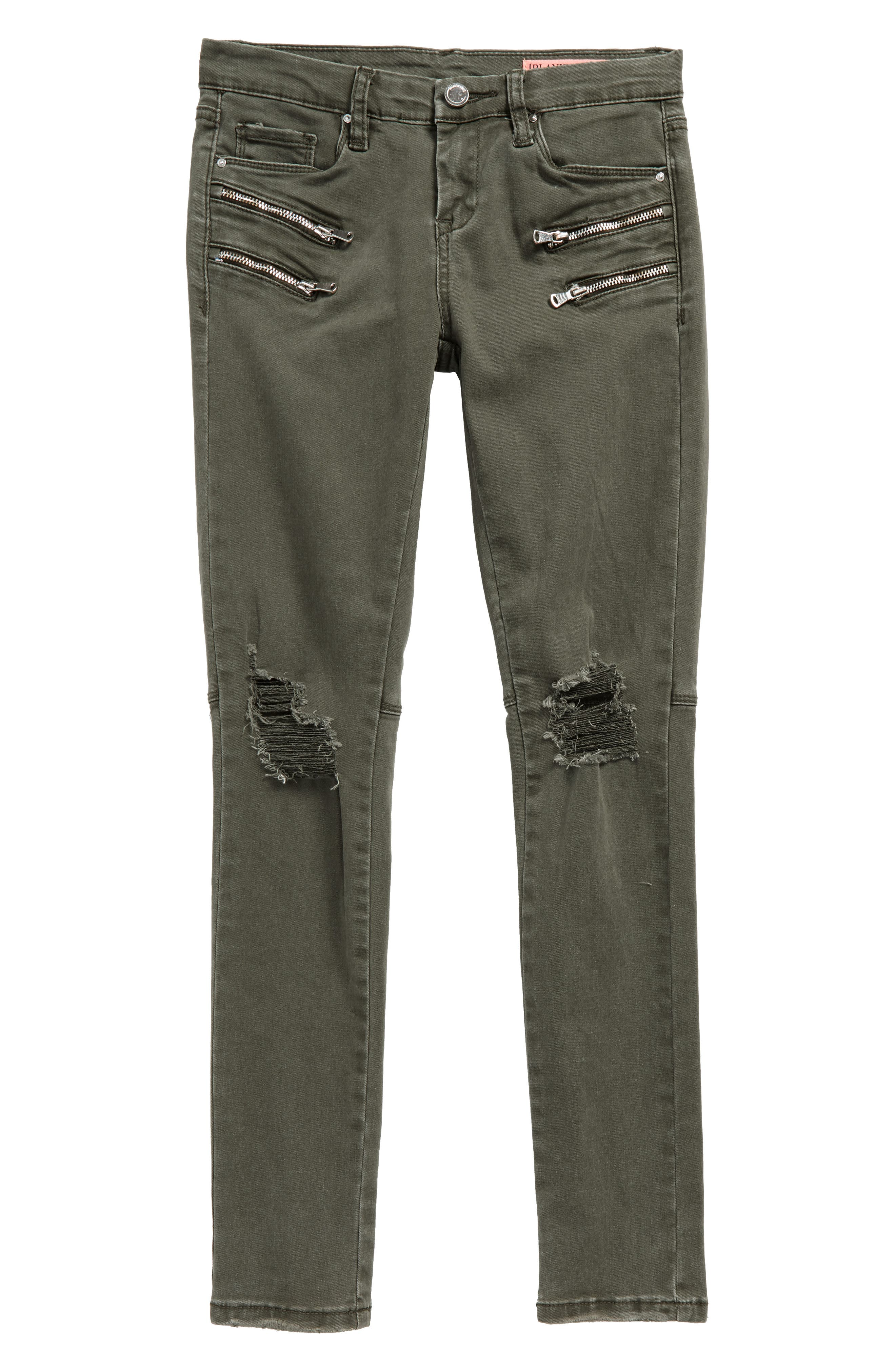 BLANKNYC Olive Twist Moto Skinny Jeans (Big Girls)
