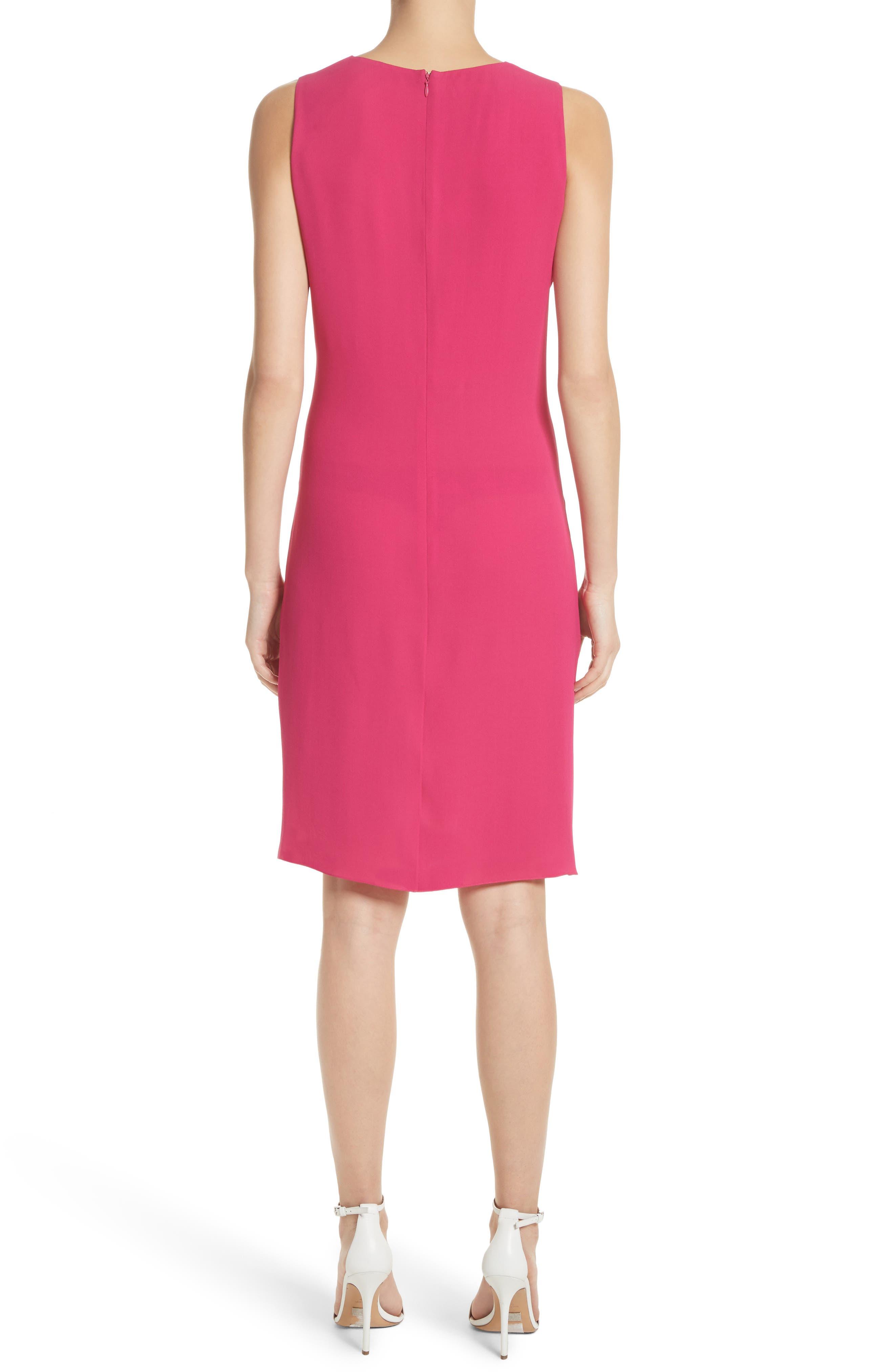 Gathered Silk Dress,                             Alternate thumbnail 2, color,                             Hibiscus