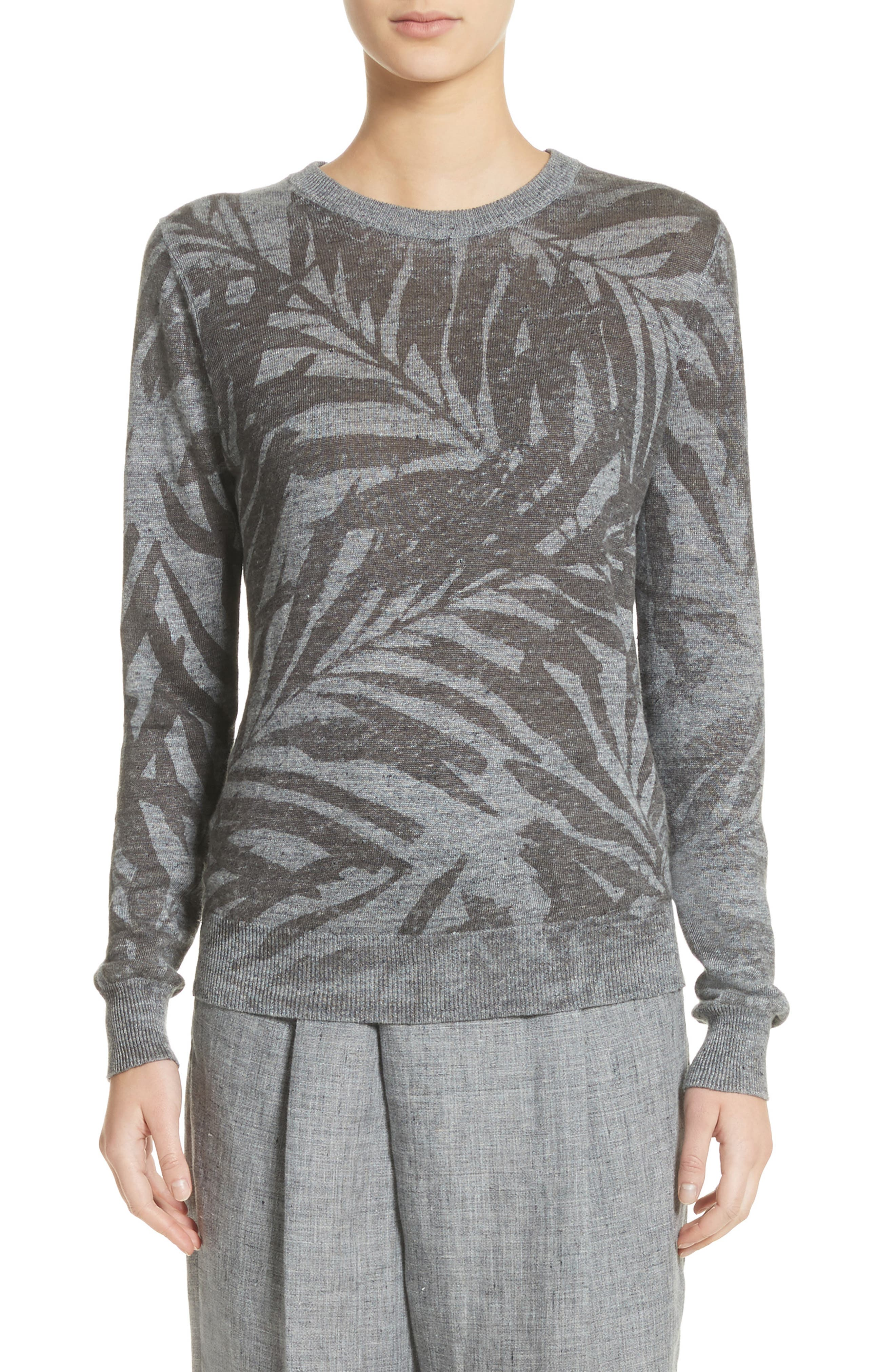 Michael Kors Palm Print Linen Sweater
