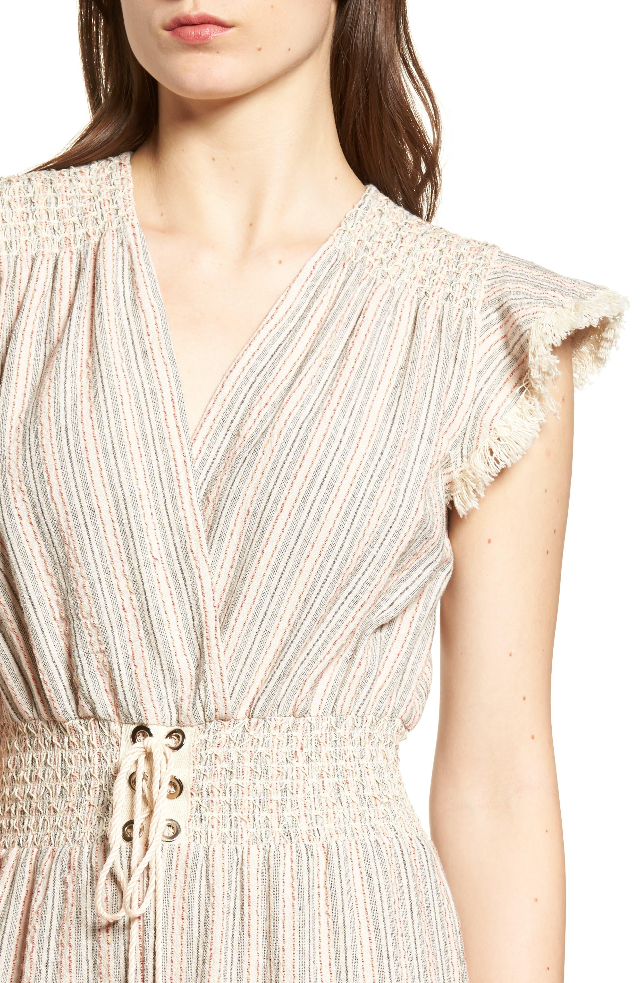 Stripe Lace-Up Jumpsuit,                             Alternate thumbnail 5, color,                             Grey Stripe