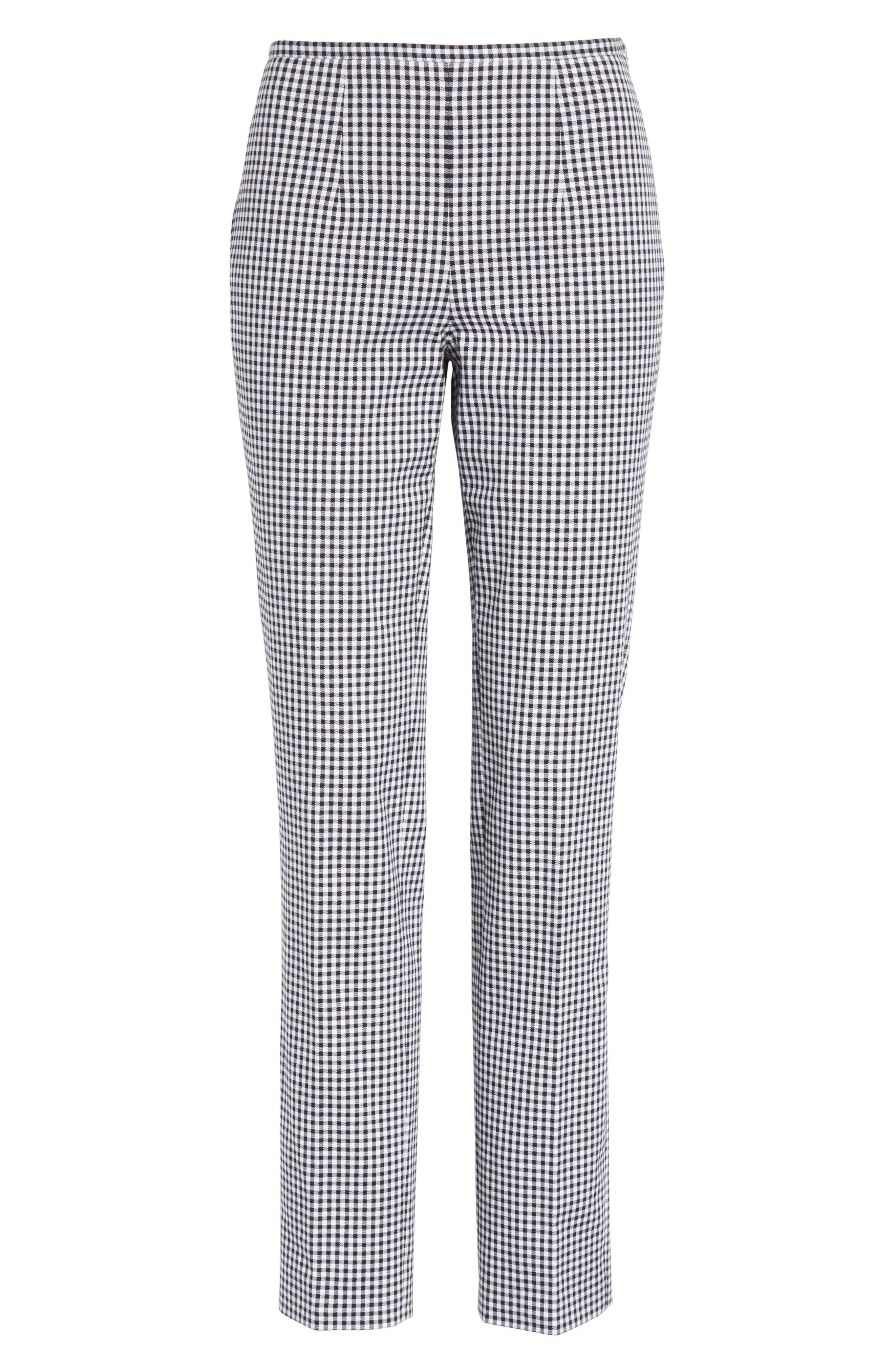 Gingham Stretch Cotton Pants,                             Alternate thumbnail 7, color,                             Black / White