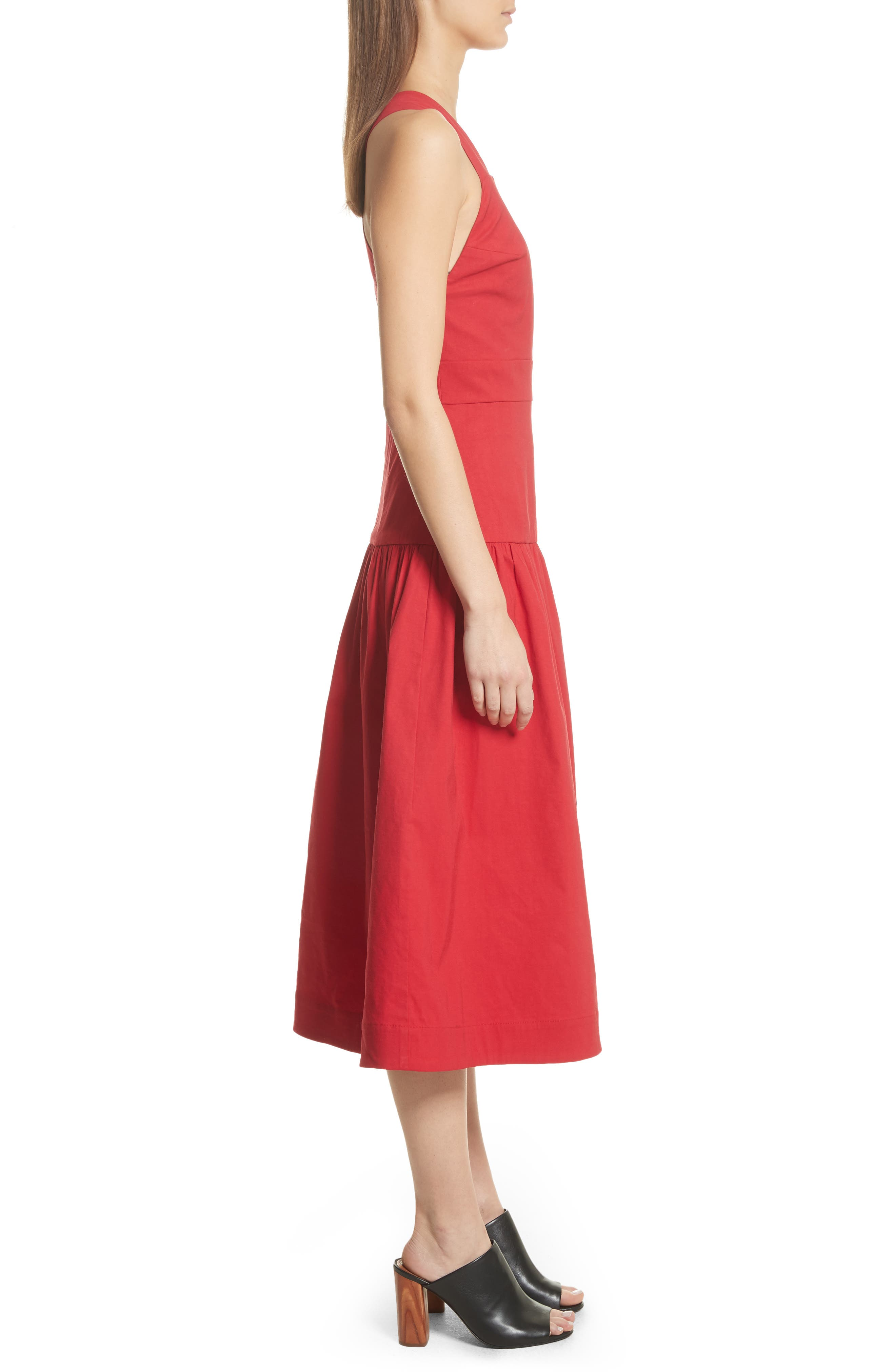 Cecily Cotton & Linen Blend Midi Dress,                             Alternate thumbnail 3, color,                             Red