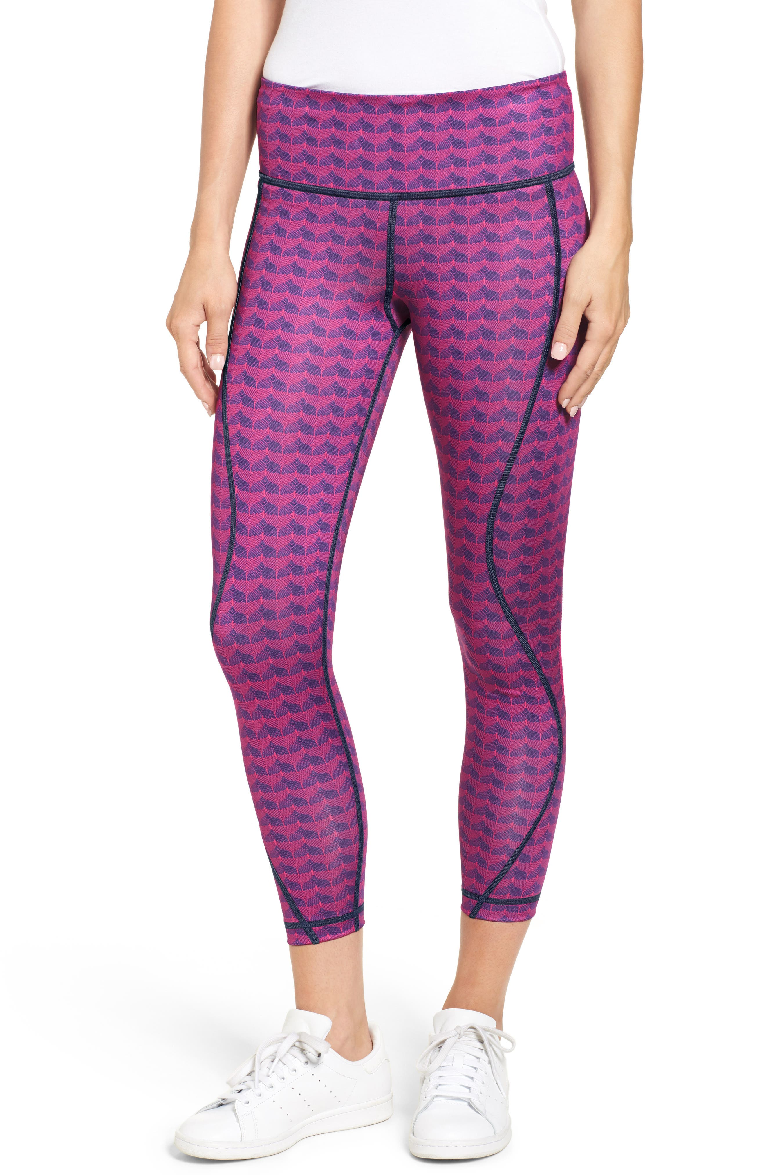 Etched Whale Tail Performance Leggings,                         Main,                         color, Pink