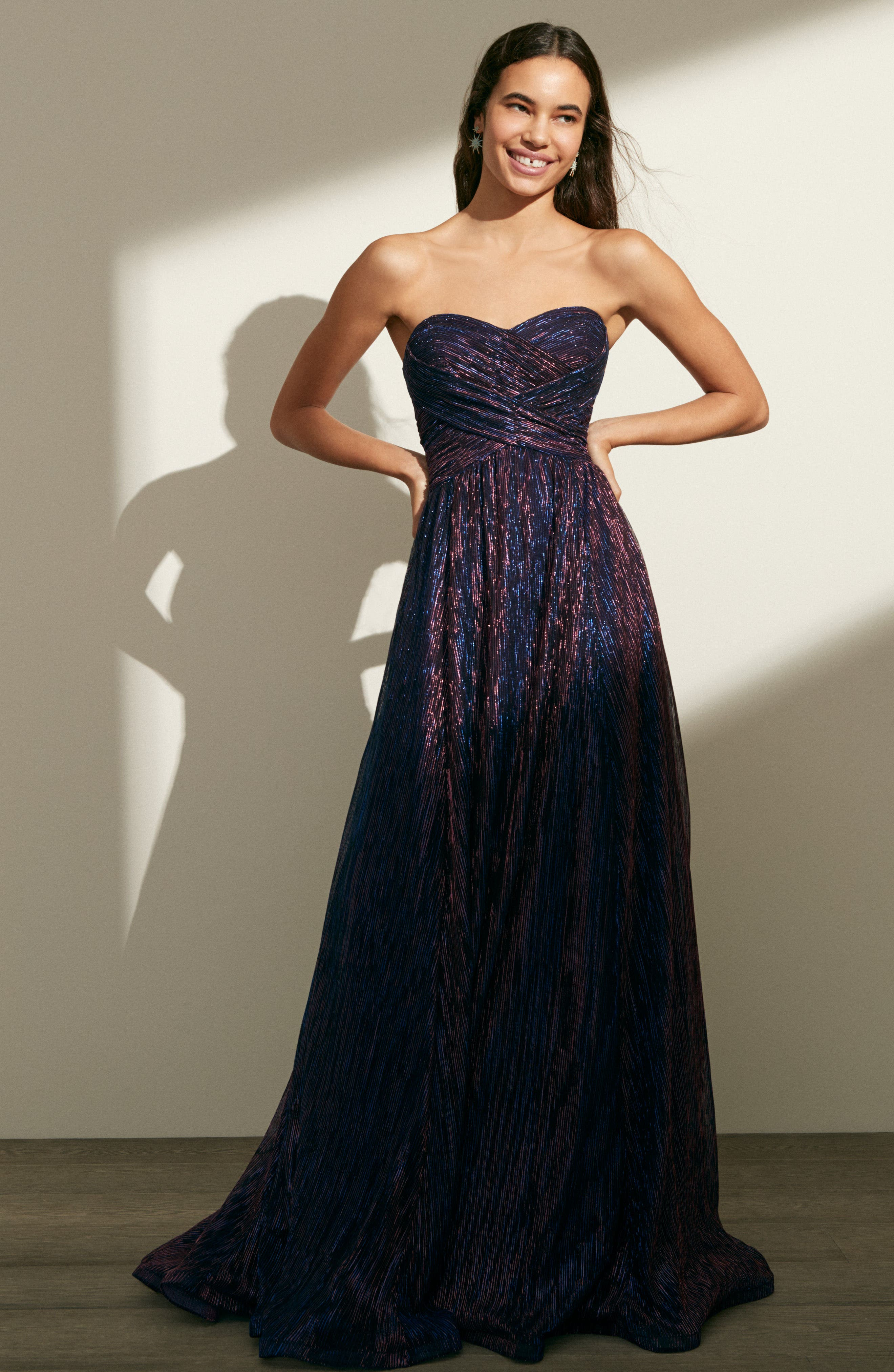 Metallic Strapless A-Line Gown,                             Alternate thumbnail 2, color,                             Purple/ Multi