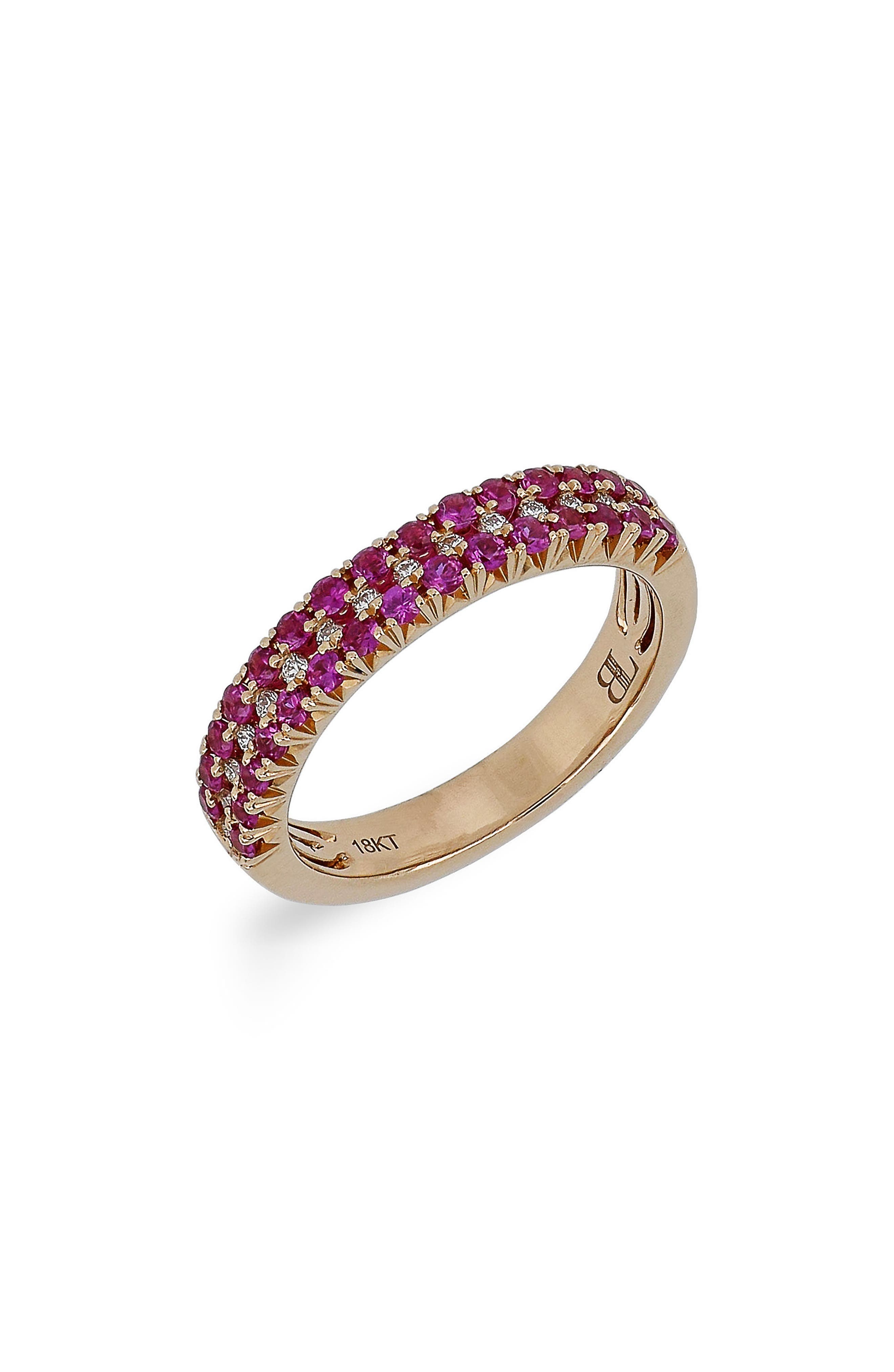 Ruby & Diamond Ring,                         Main,                         color, Rose Gold