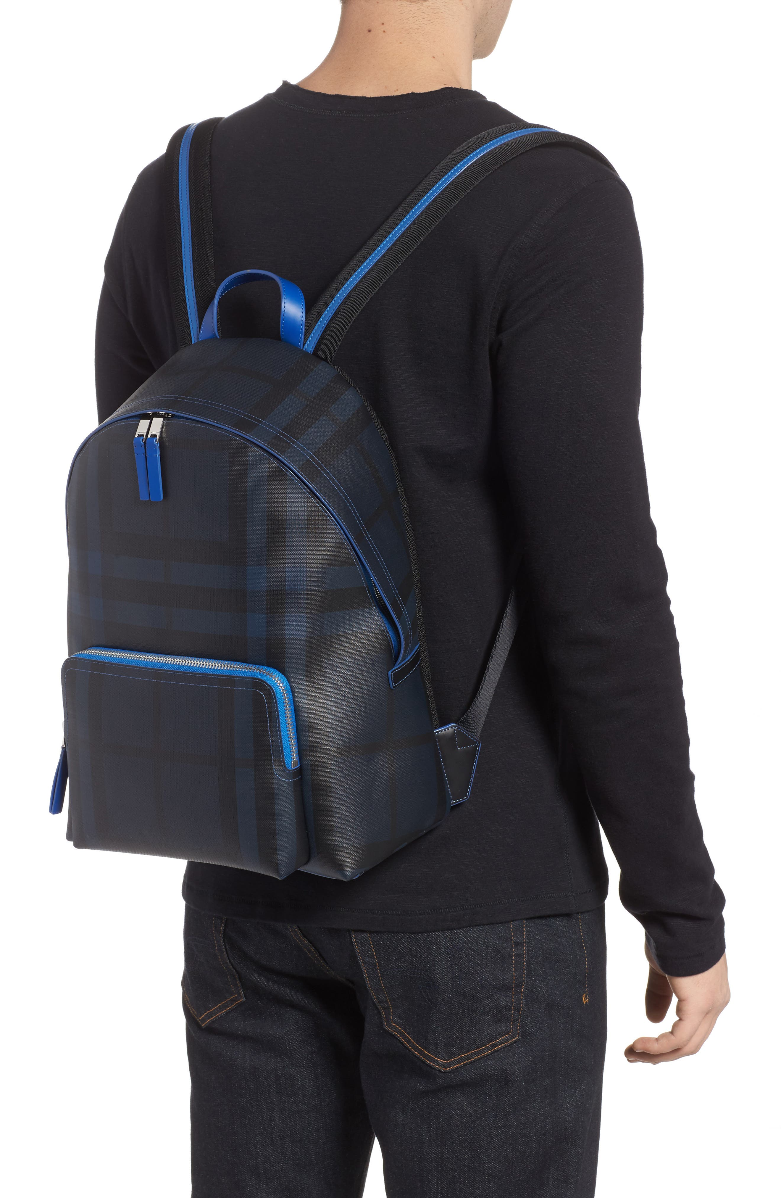 Check Faux Leather Backpack,                             Alternate thumbnail 2, color,                             Navy/ Blue