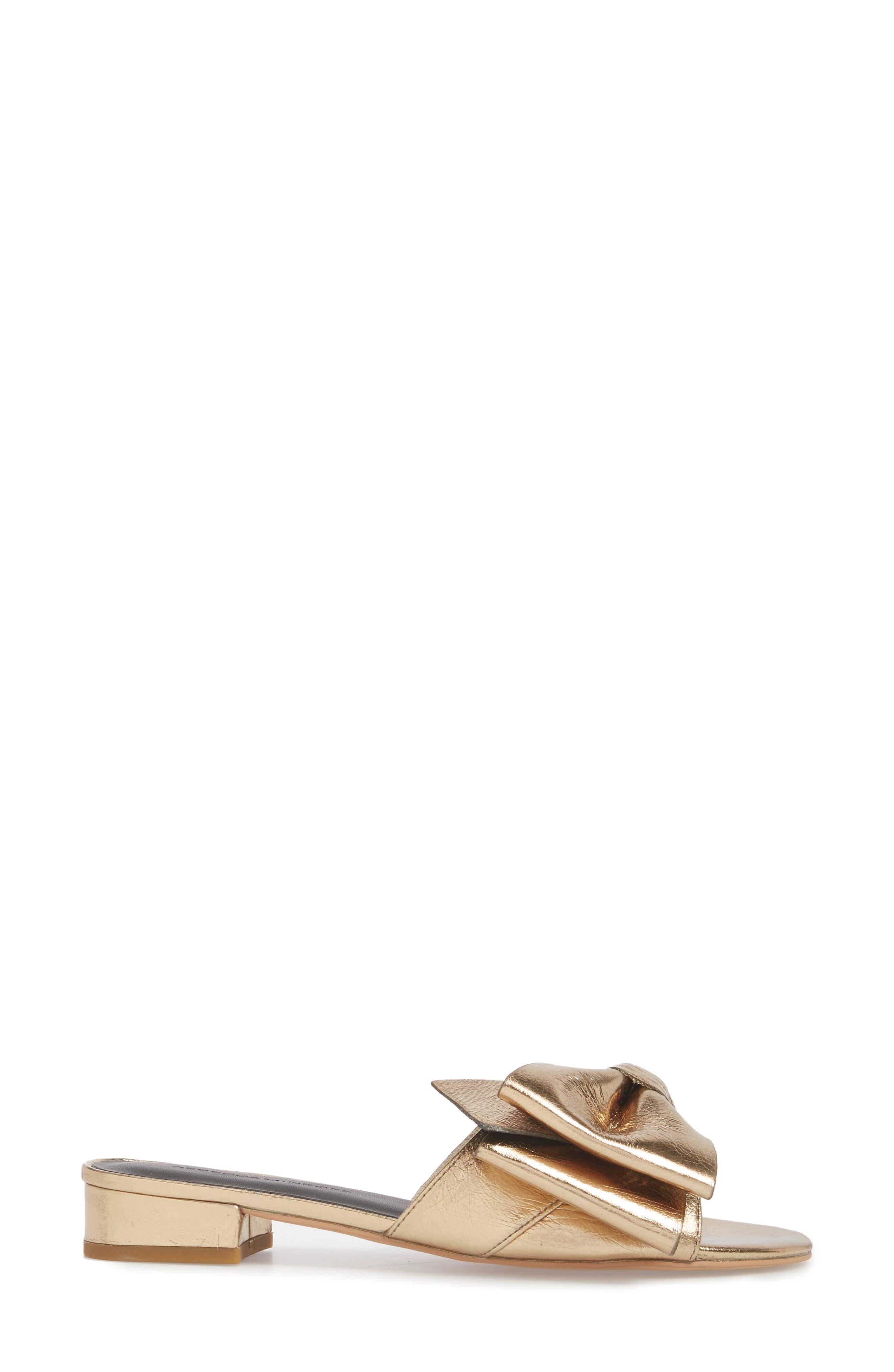 Calista Sandal,                             Alternate thumbnail 3, color,                             Gold Metallic Leather