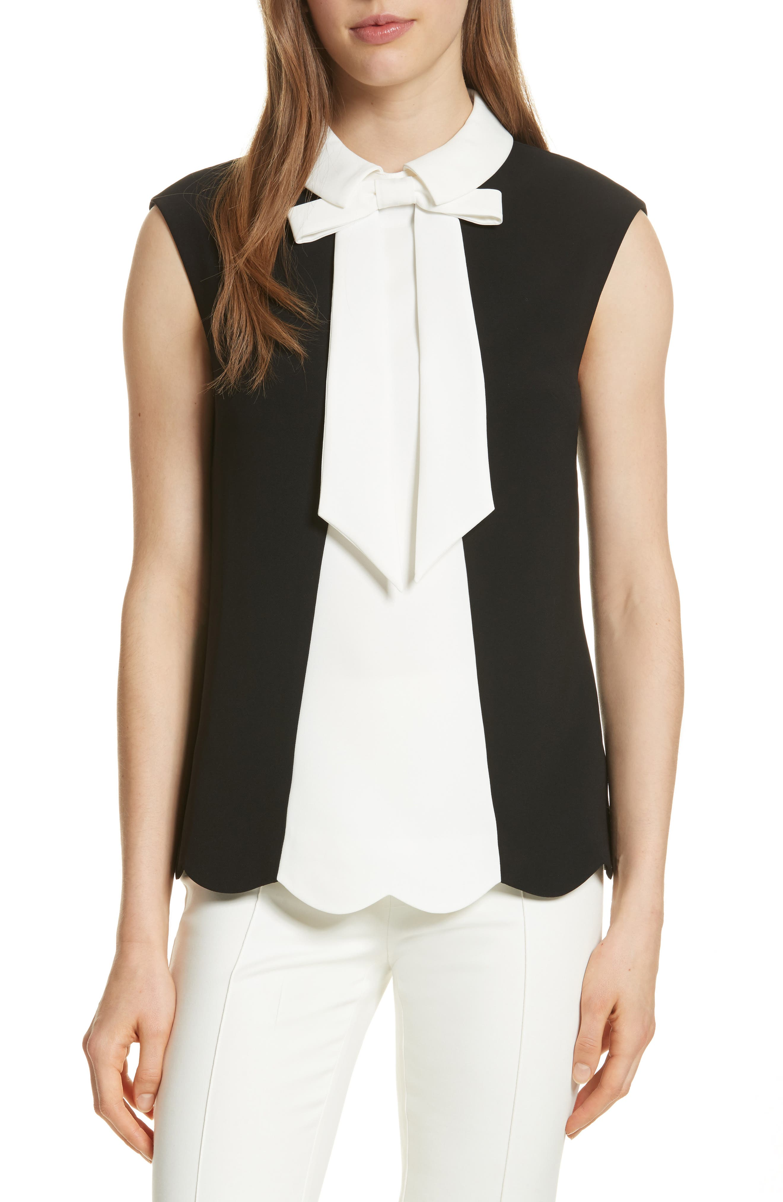 Alternate Image 1 Selected - Ted Baker London Bow Collar Scalloped Top