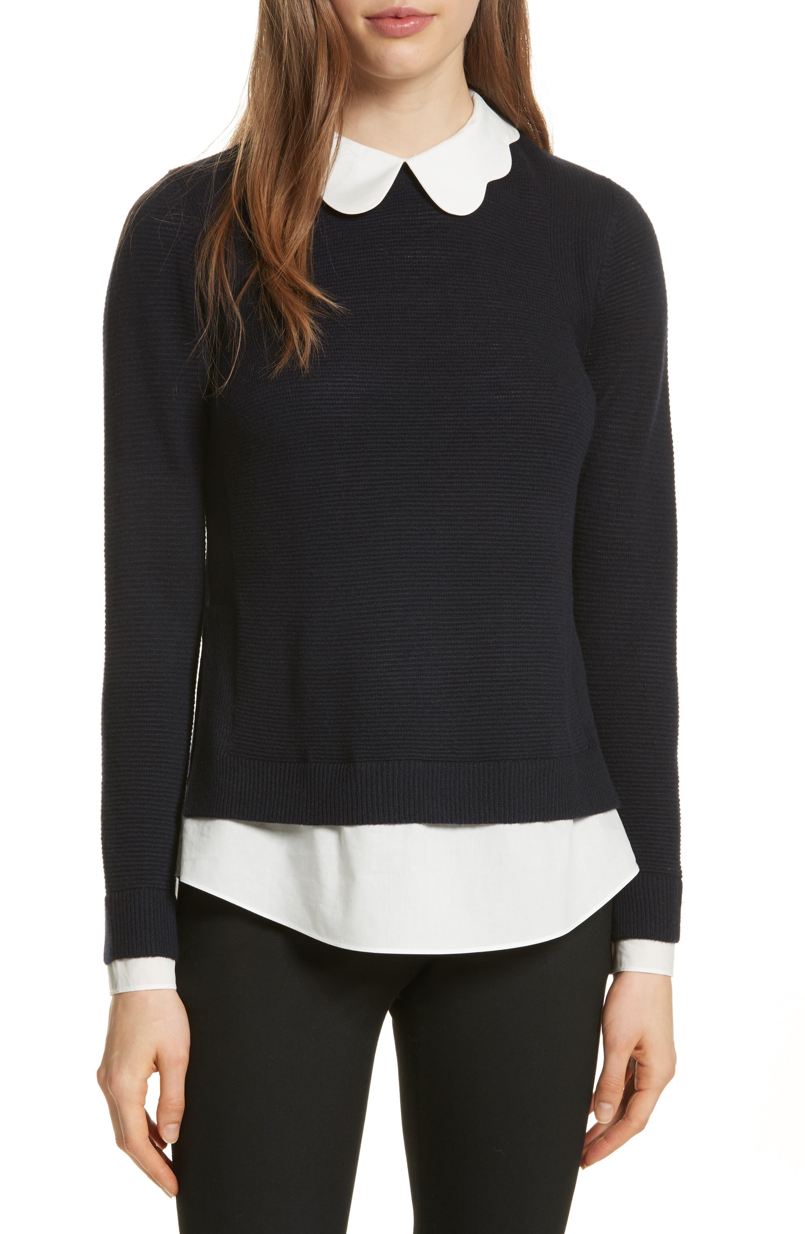 Scallop Collar Sweater,                         Main,                         color, Dark Blue