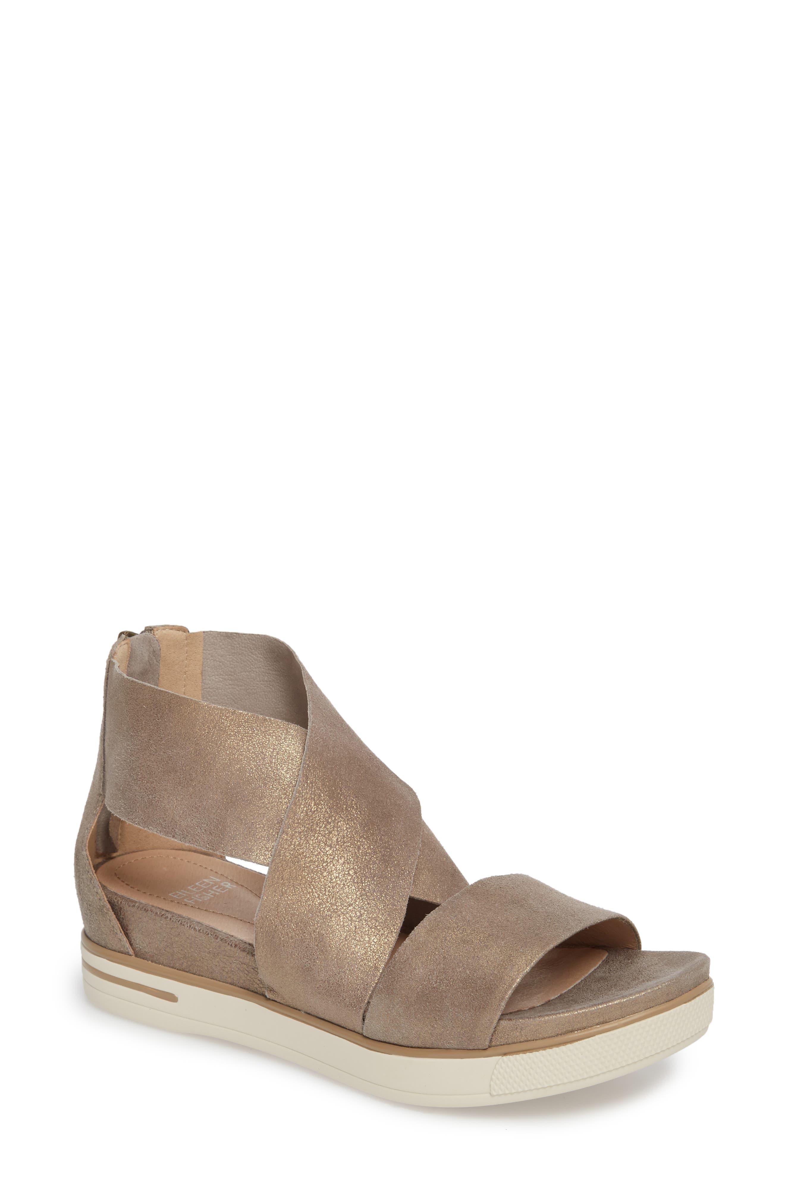 Sport Platform Sandal,                             Main thumbnail 1, color,                             Platinum Leather