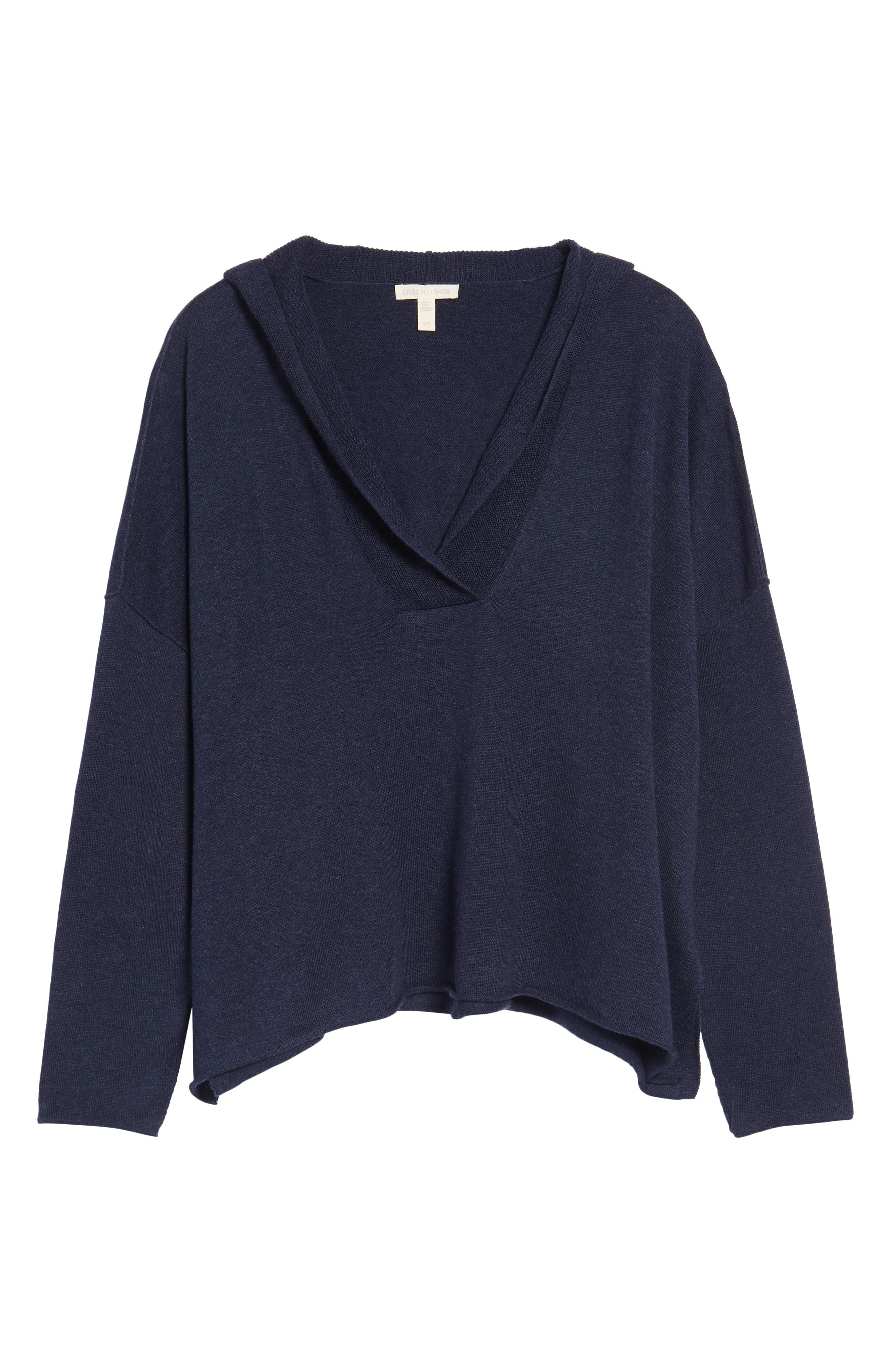 Hooded Organic Cotton Box Sweater,                             Alternate thumbnail 6, color,                             Midnight