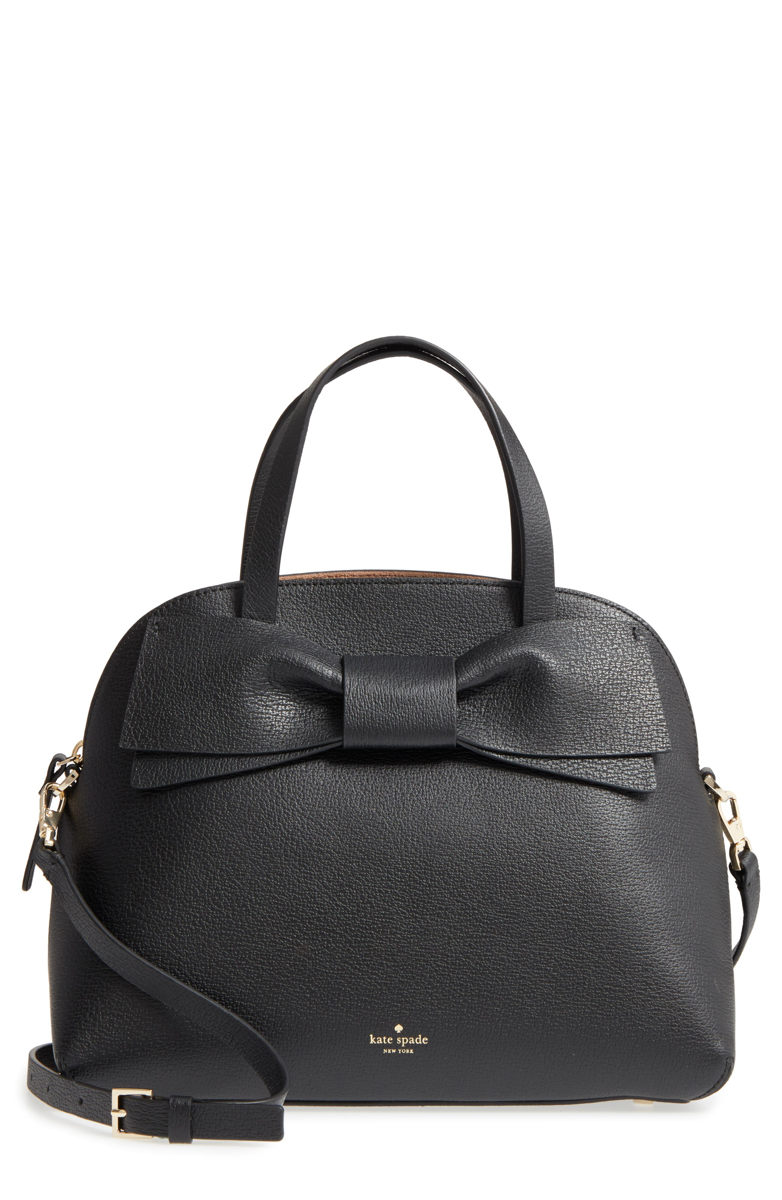 olive drive lottie leather satchel,                             Main thumbnail 1, color,                             Black