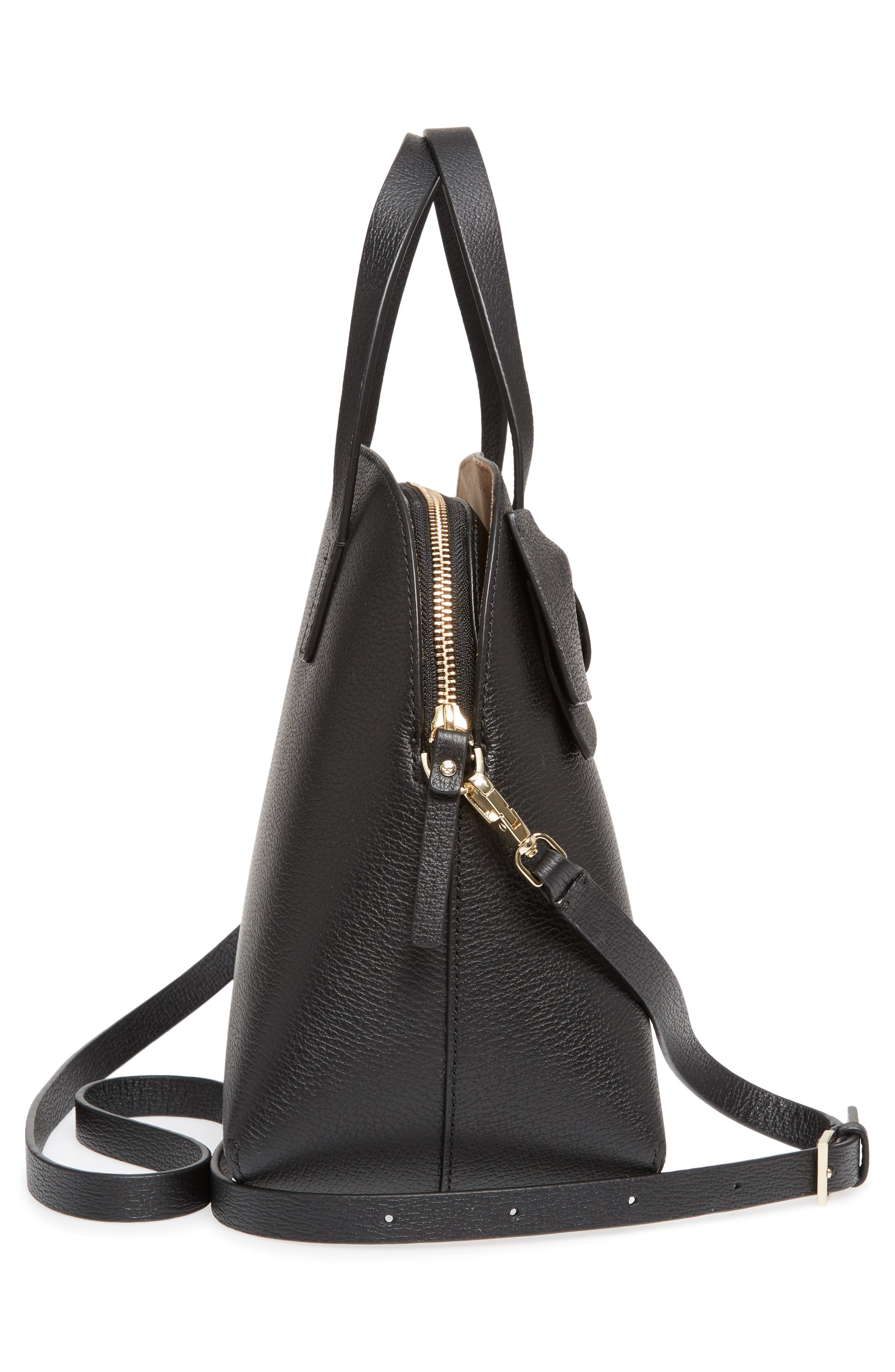 olive drive lottie leather satchel,                             Alternate thumbnail 5, color,                             Black