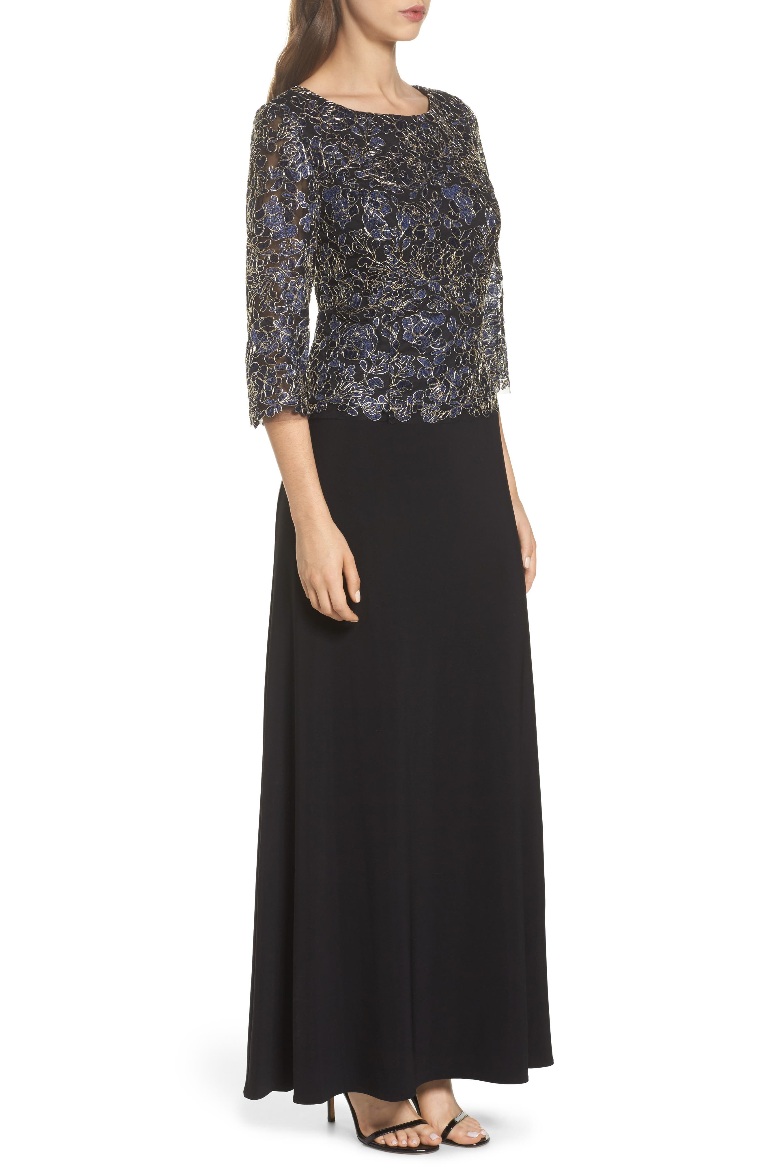 Embroidered Lace Mock Two-Piece Dress,                             Alternate thumbnail 3, color,                             Navy/ Gold