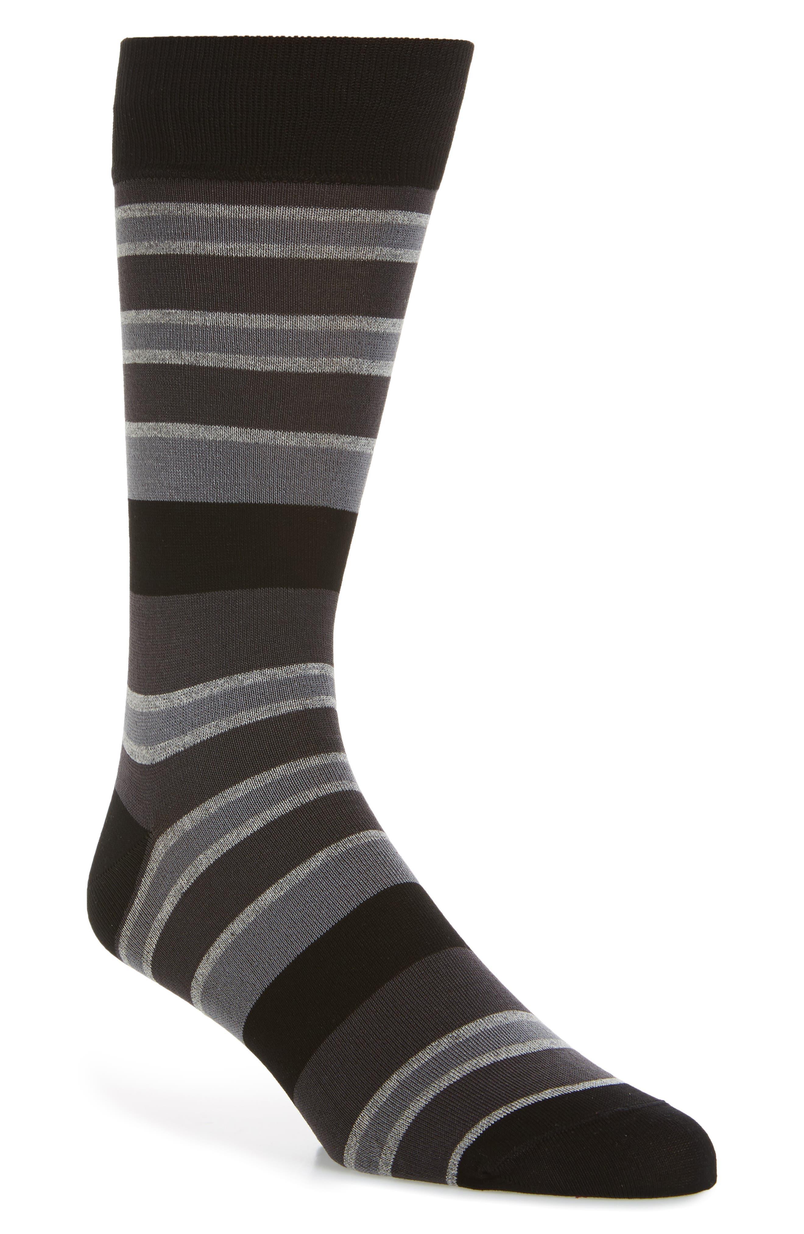 Stripe Mercerized Cotton Blend Socks,                             Main thumbnail 1, color,                             Charcoal
