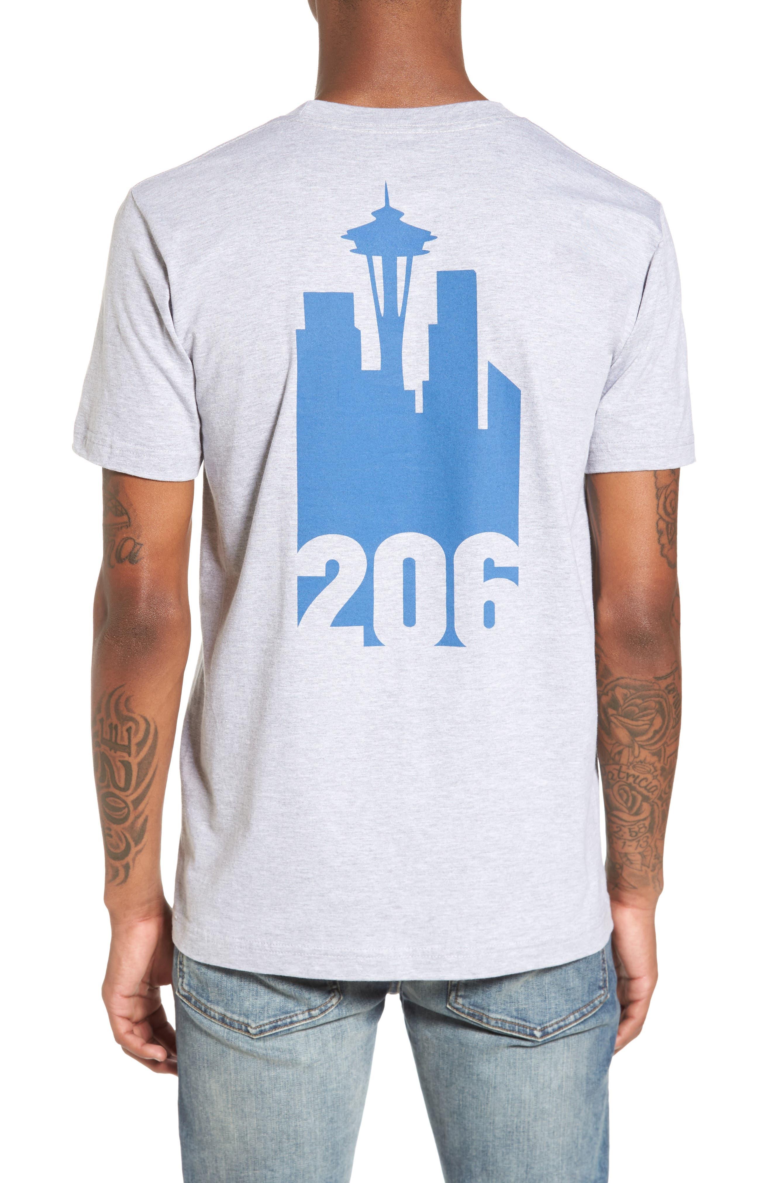 Area Code Skyline T-Shirt,                             Alternate thumbnail 2, color,                             Heather Grey