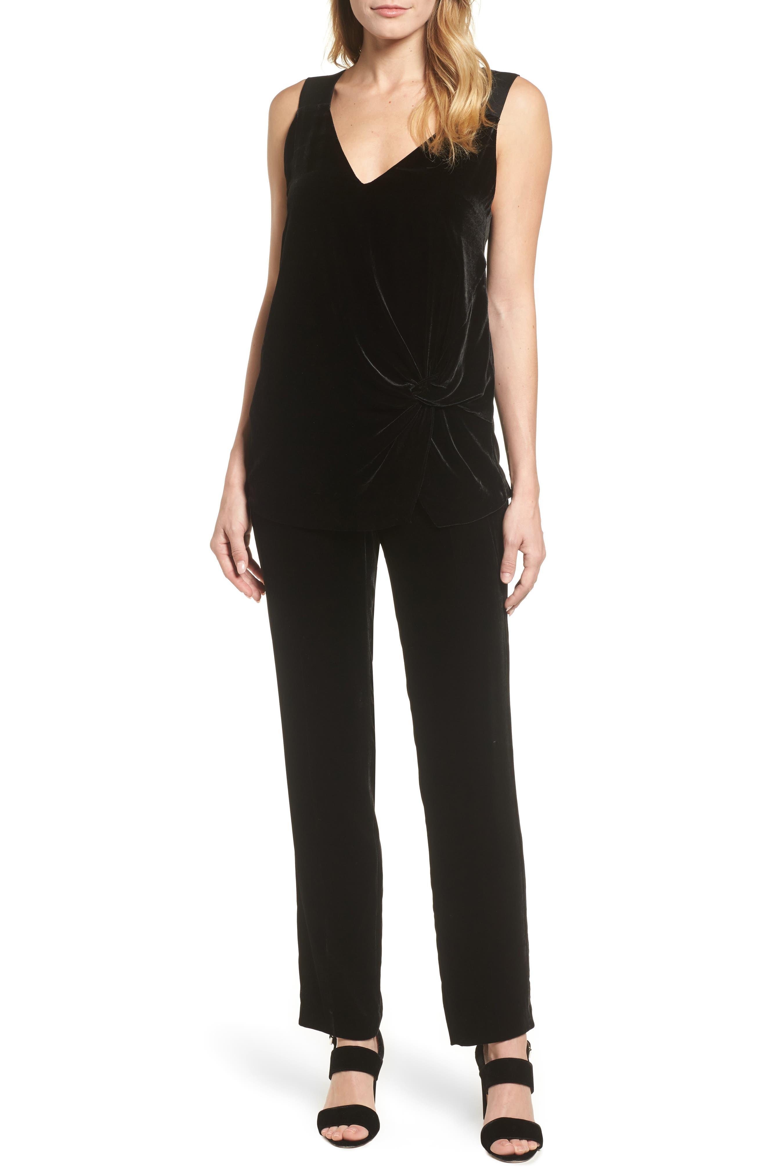 Tolesa Straight Leg Velvet Pants,                             Alternate thumbnail 7, color,                             Black