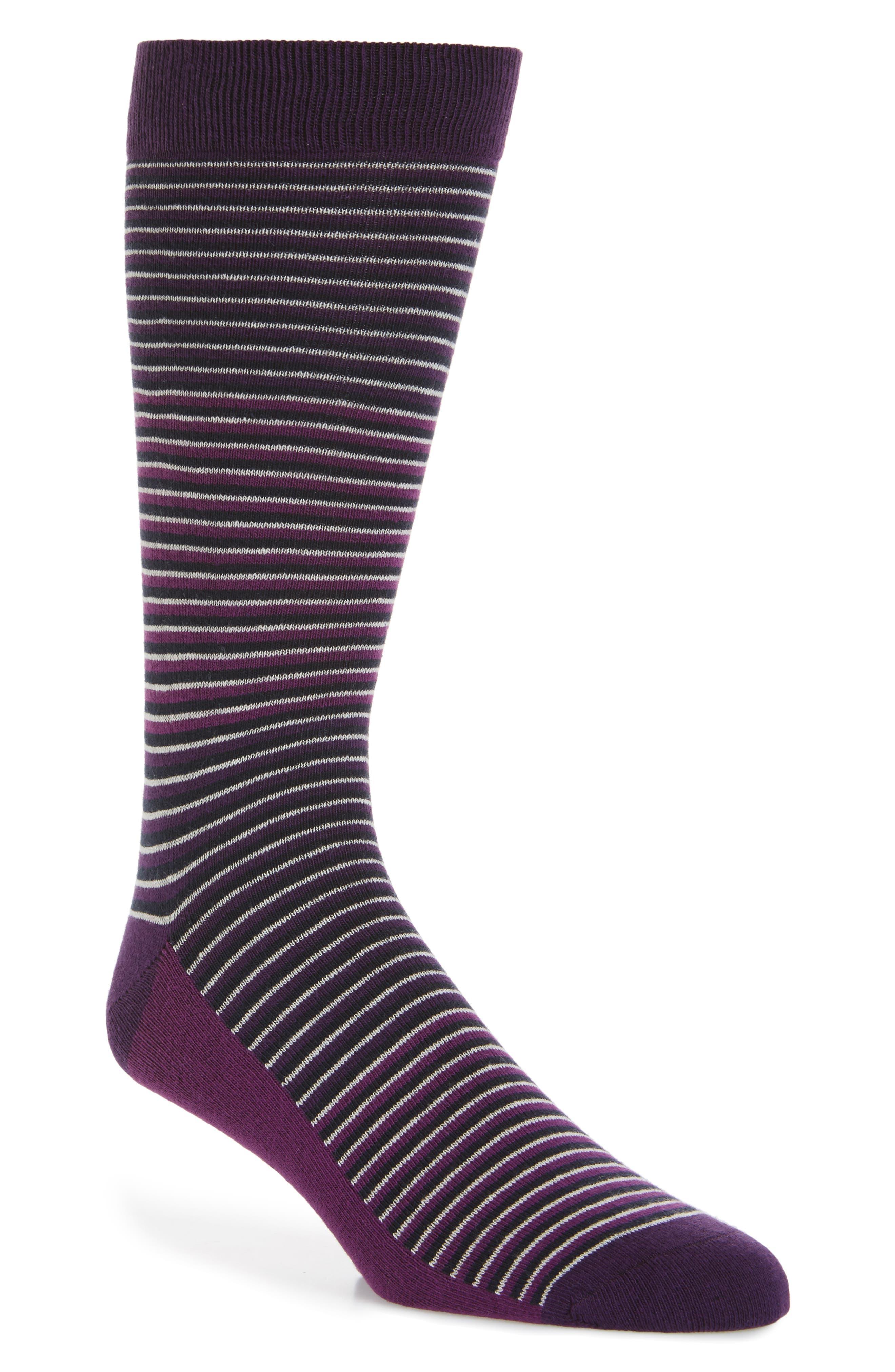 Chapel Stripe Socks,                         Main,                         color, Purple