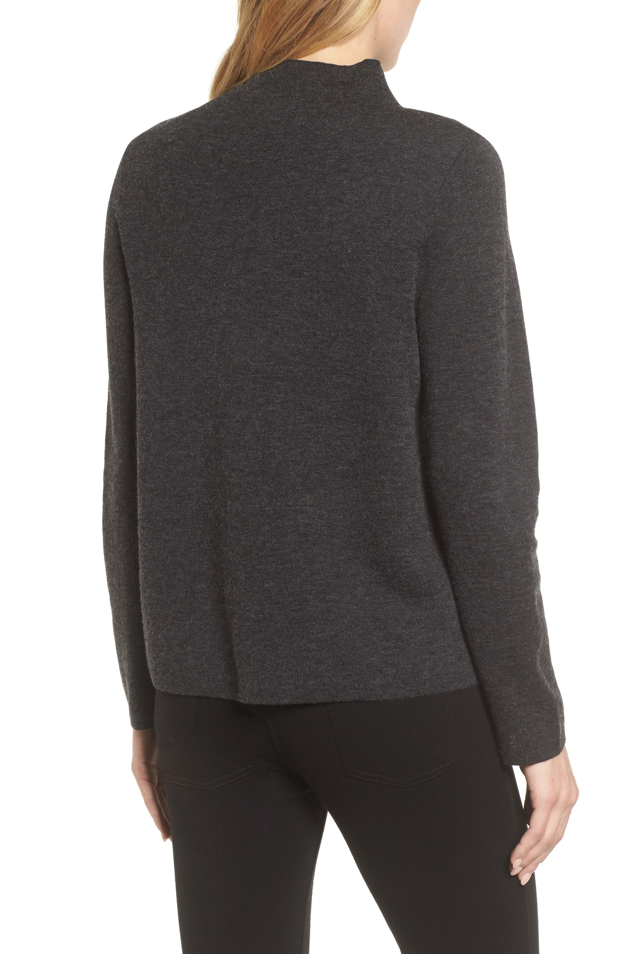Funnel Neck Sweater,                             Alternate thumbnail 2, color,                             Charcoal