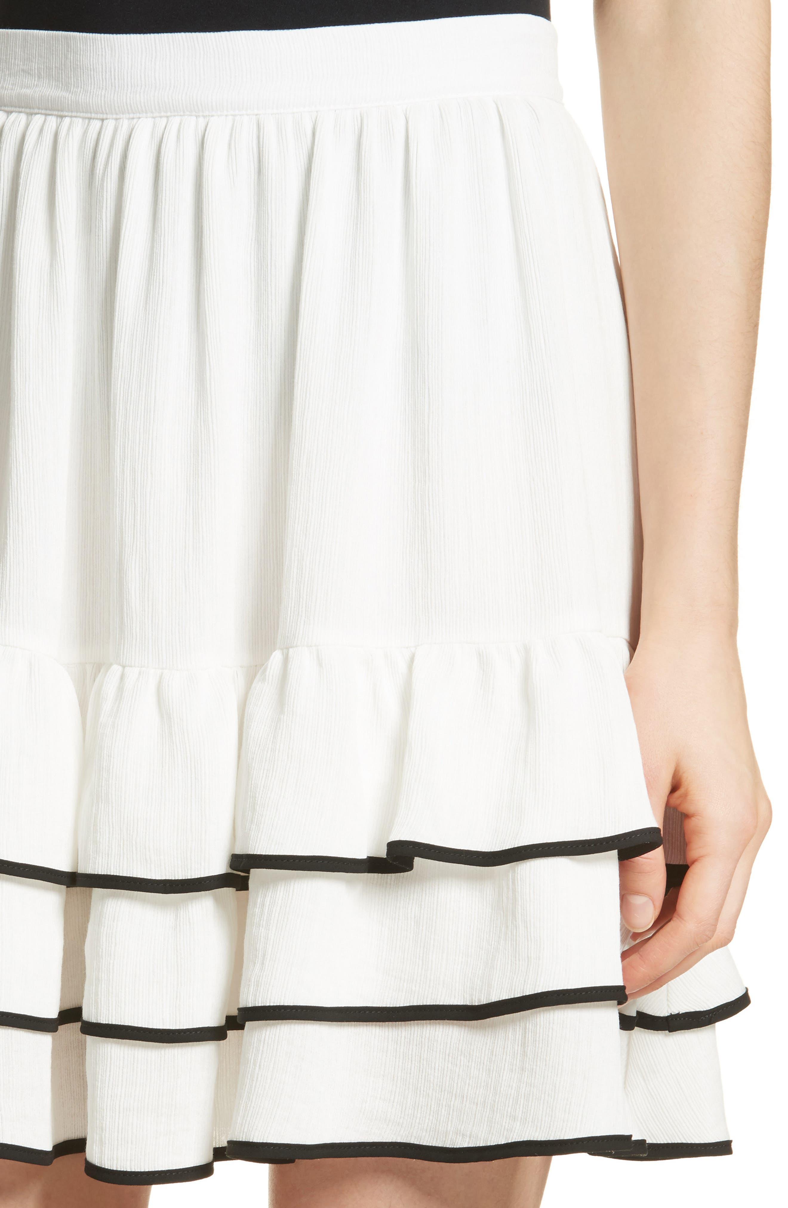Prose & Poetry Carice Ruffle Miniskirt,                             Alternate thumbnail 4, color,                             Alabaster